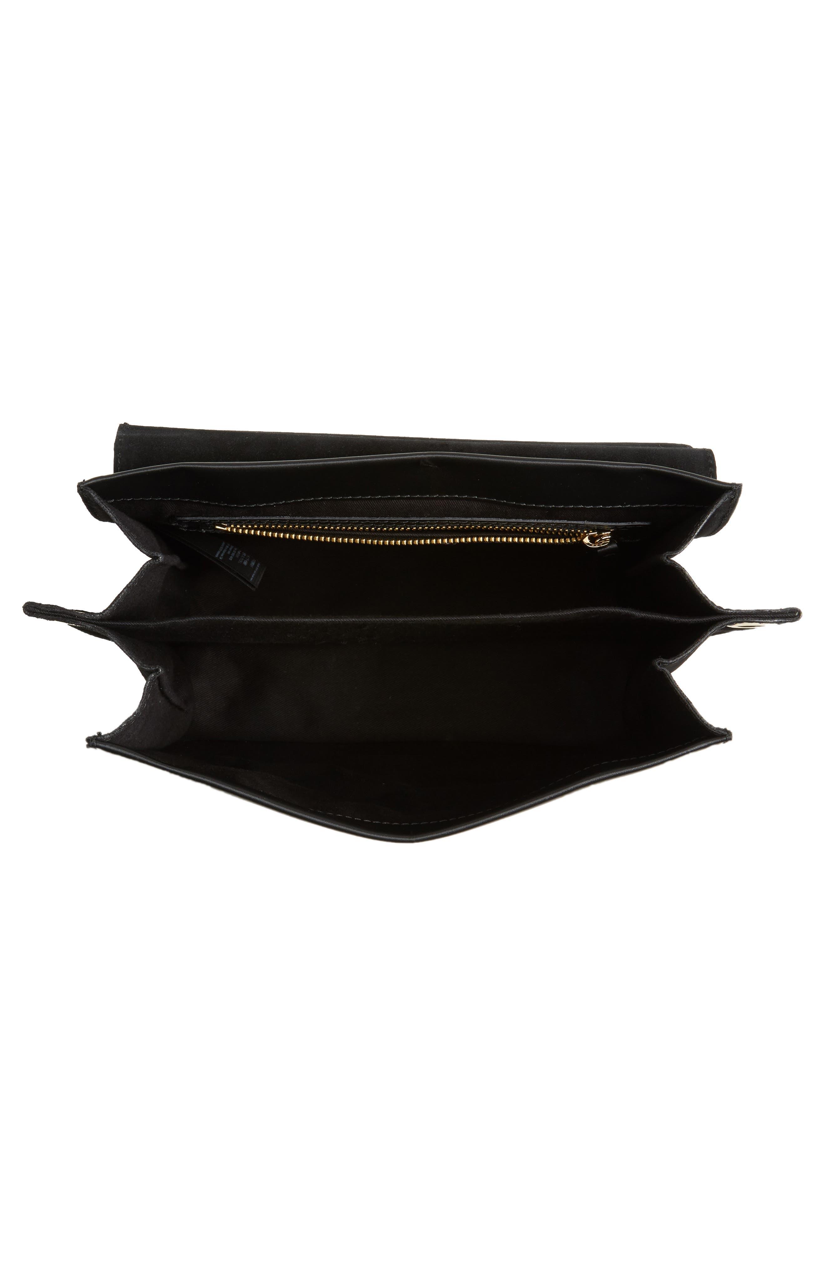 Premium Leather & Suede Soko Shoulder Bag,                             Alternate thumbnail 5, color,                             Black