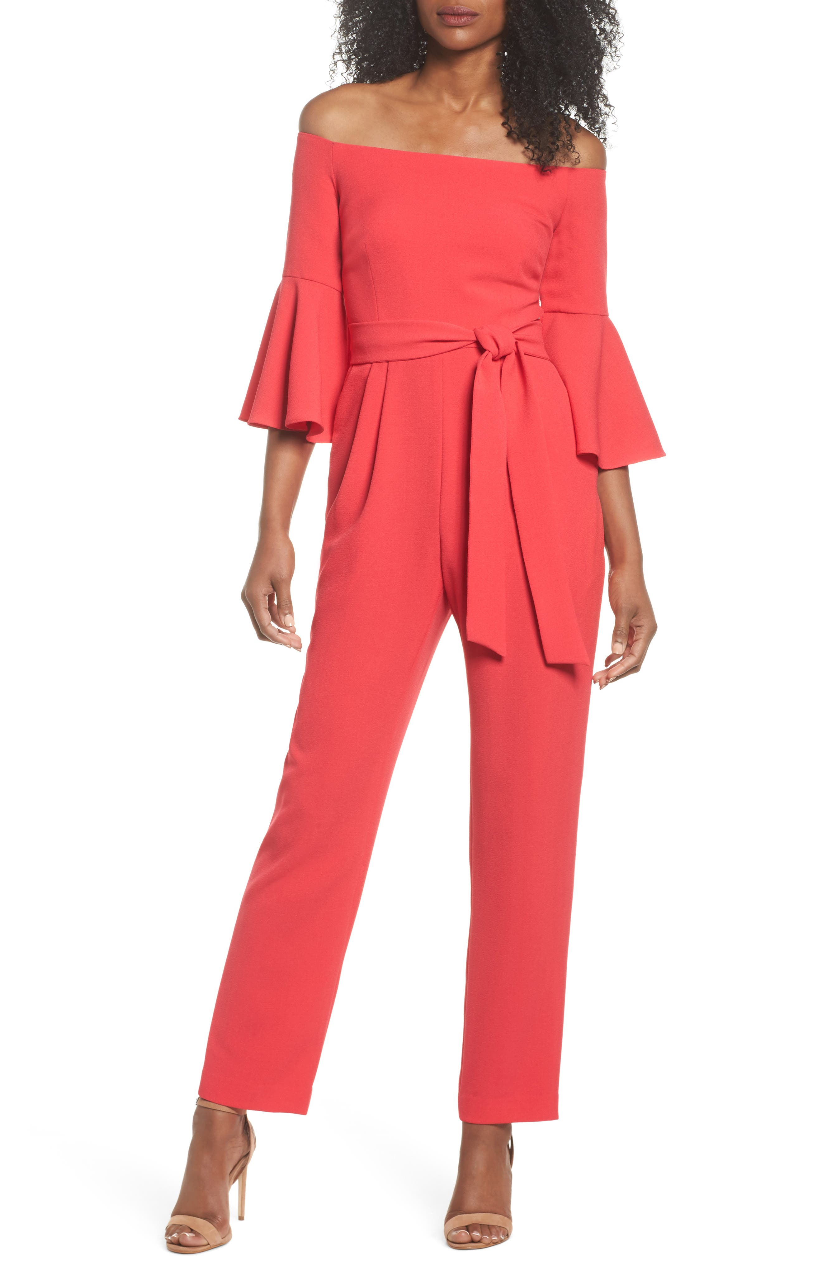 Off the Shoulder Jumpsuit,                         Main,                         color, Berry