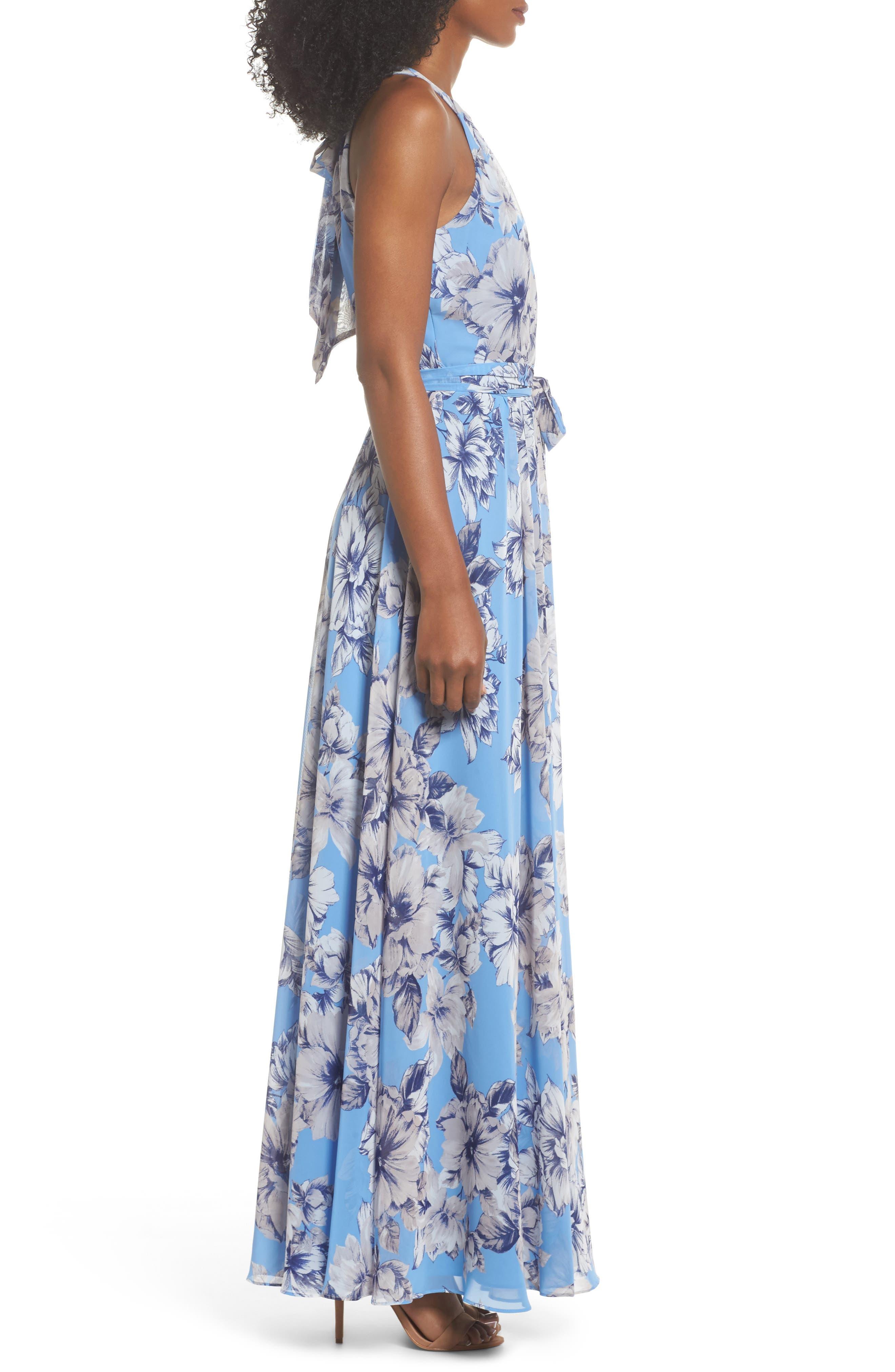 Halter Maxi Dress,                             Alternate thumbnail 3, color,                             Blue