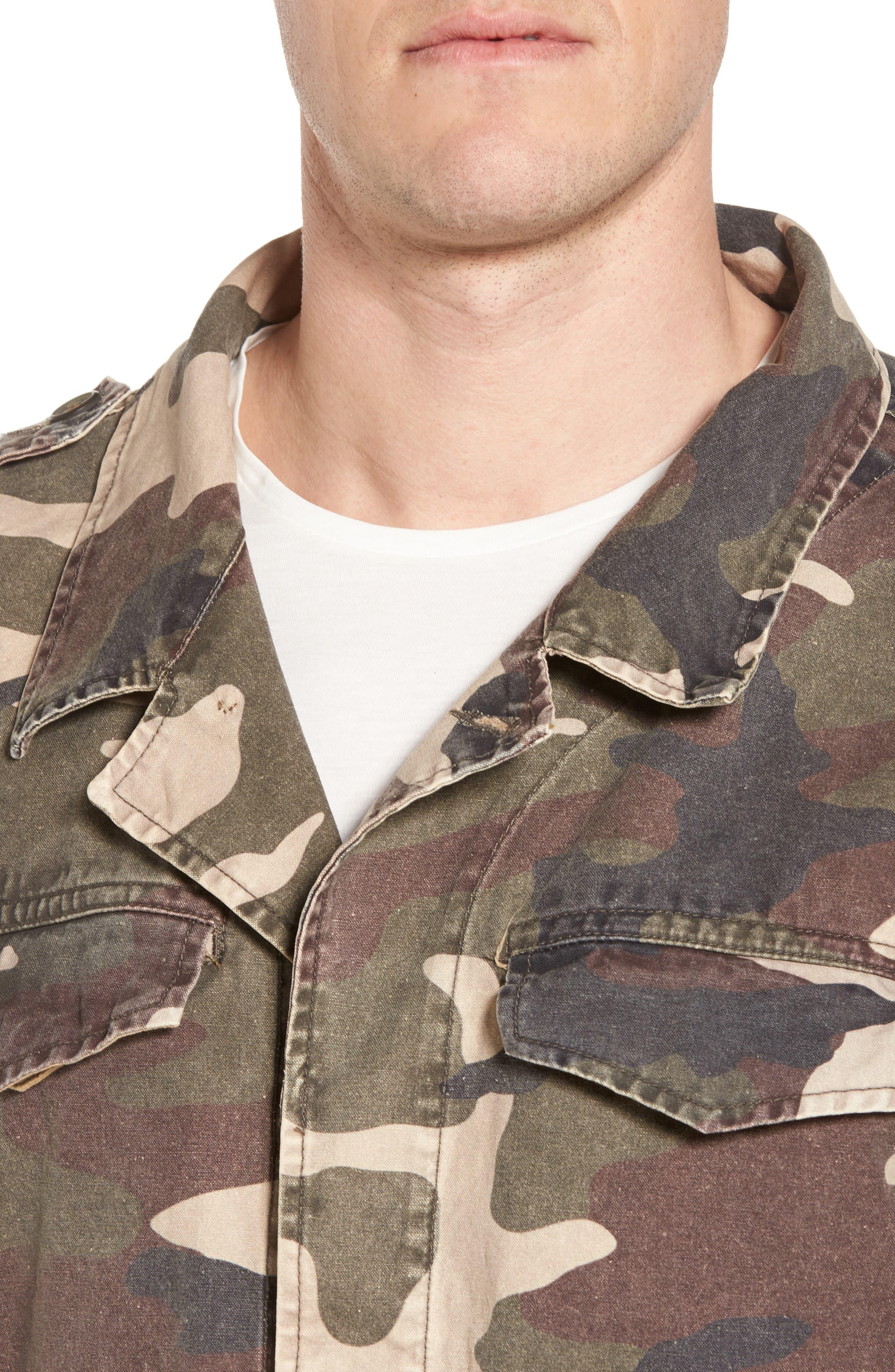 Denim Regular Fit Camo Field Jacket,                             Alternate thumbnail 4, color,                             Camo