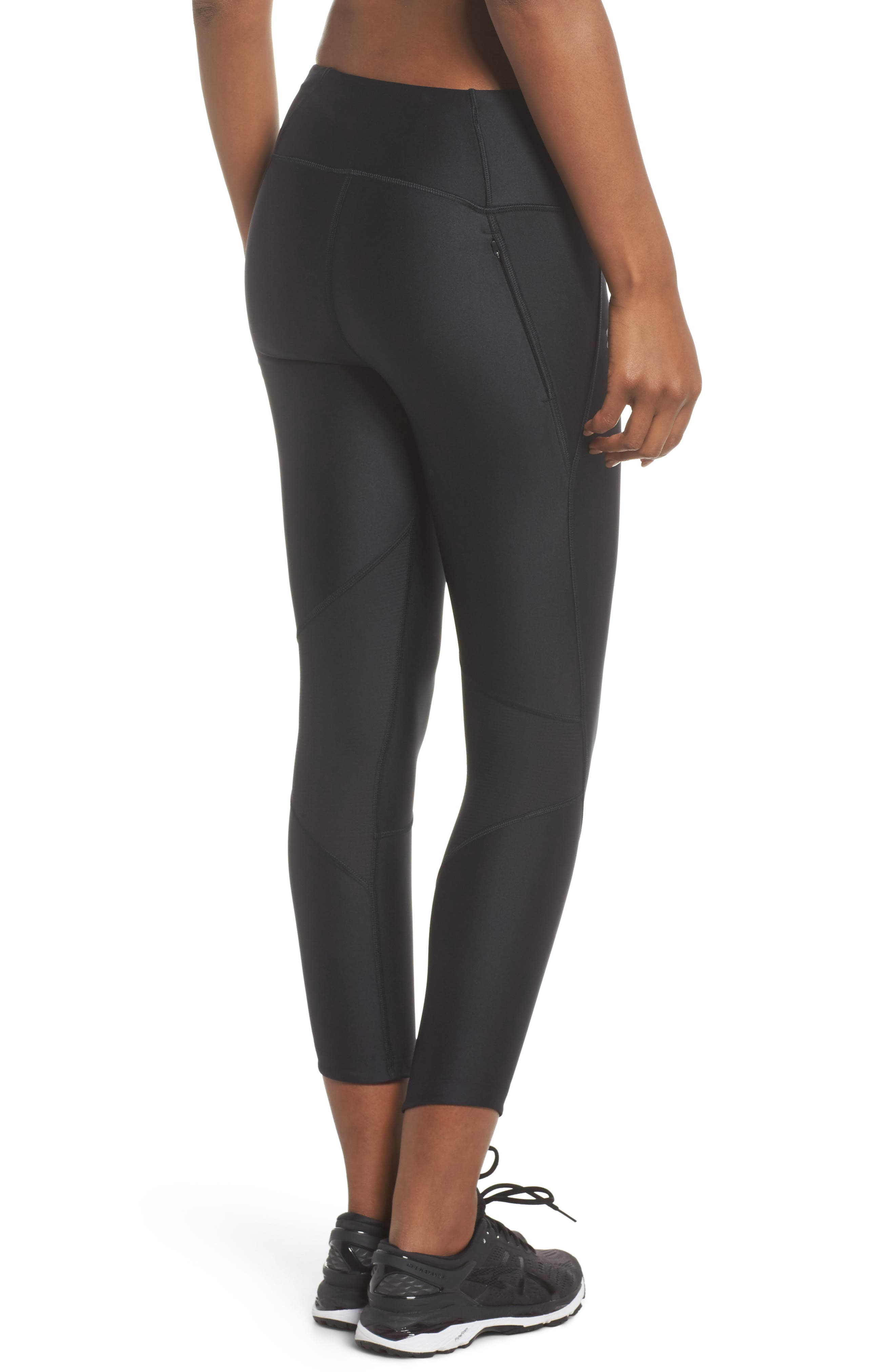 Fly Fast HeatGear<sup>®</sup> Crop Leggings,                             Alternate thumbnail 2, color,                             Black