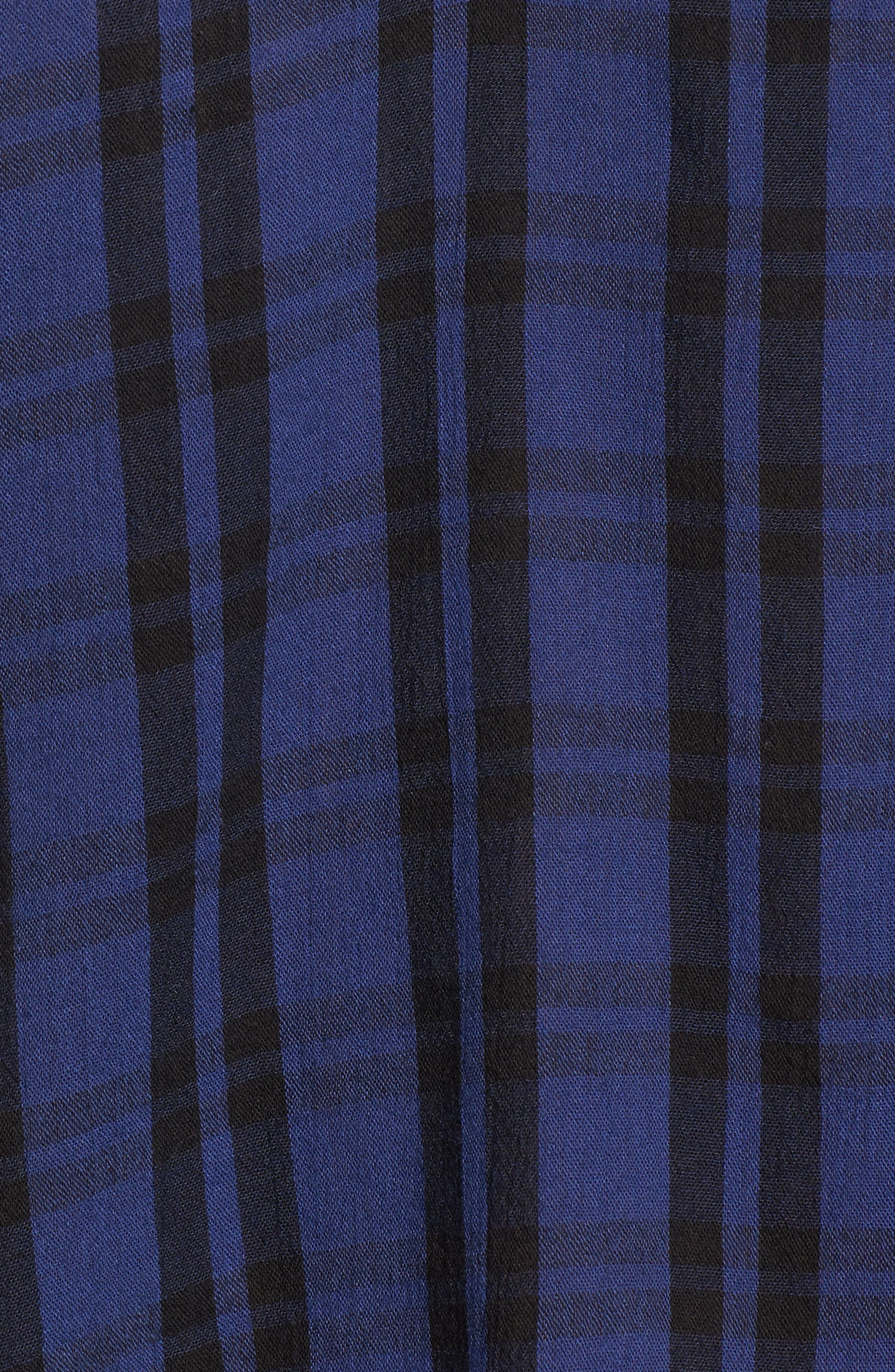 Plaid Shirred Neck Shirt,                             Alternate thumbnail 5, color,                             Dark River