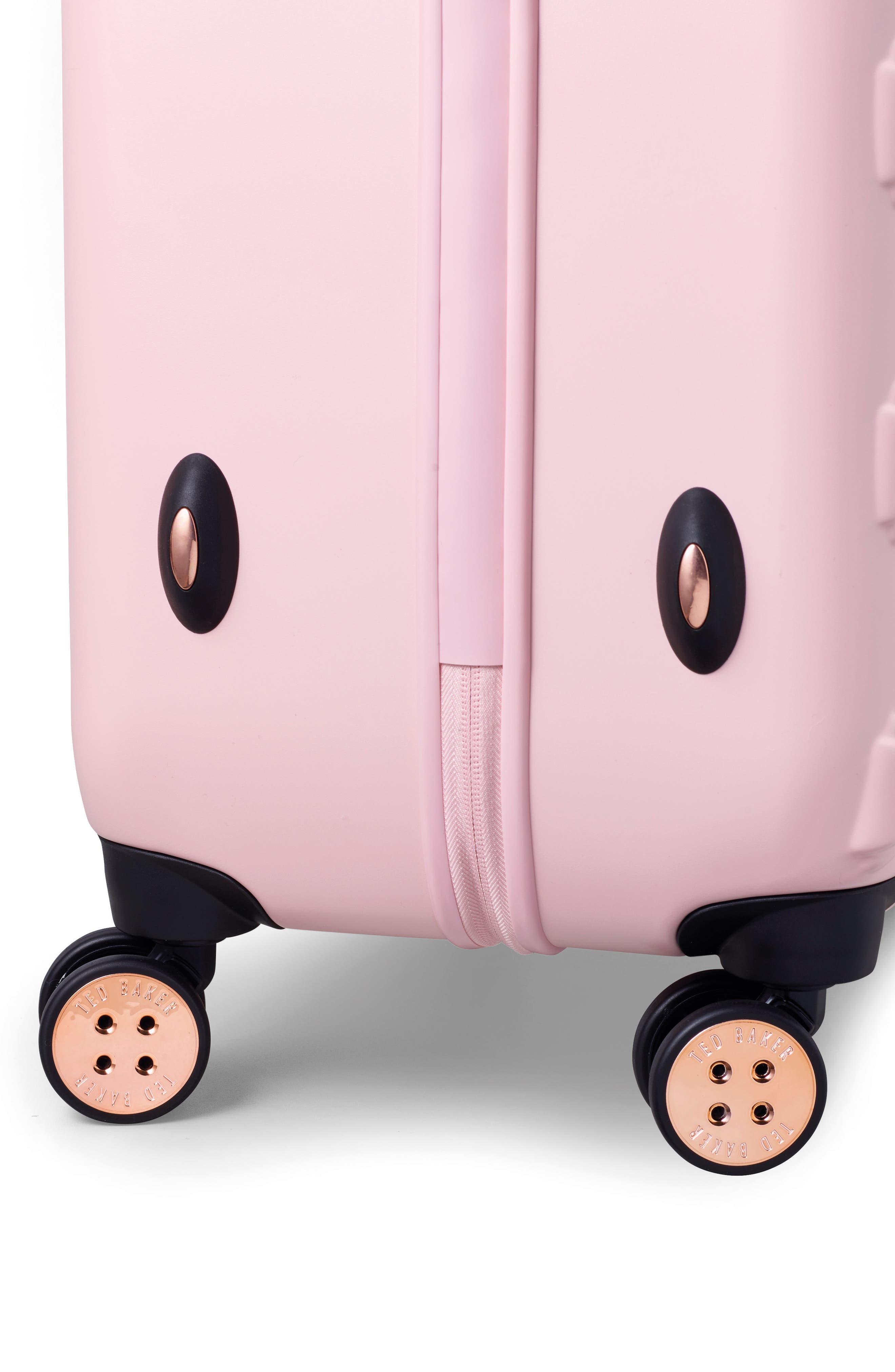 Medium Beau Bow Embossed Four-Wheel 27-Inch Trolley Suitcase,                             Alternate thumbnail 7, color,                             Pink