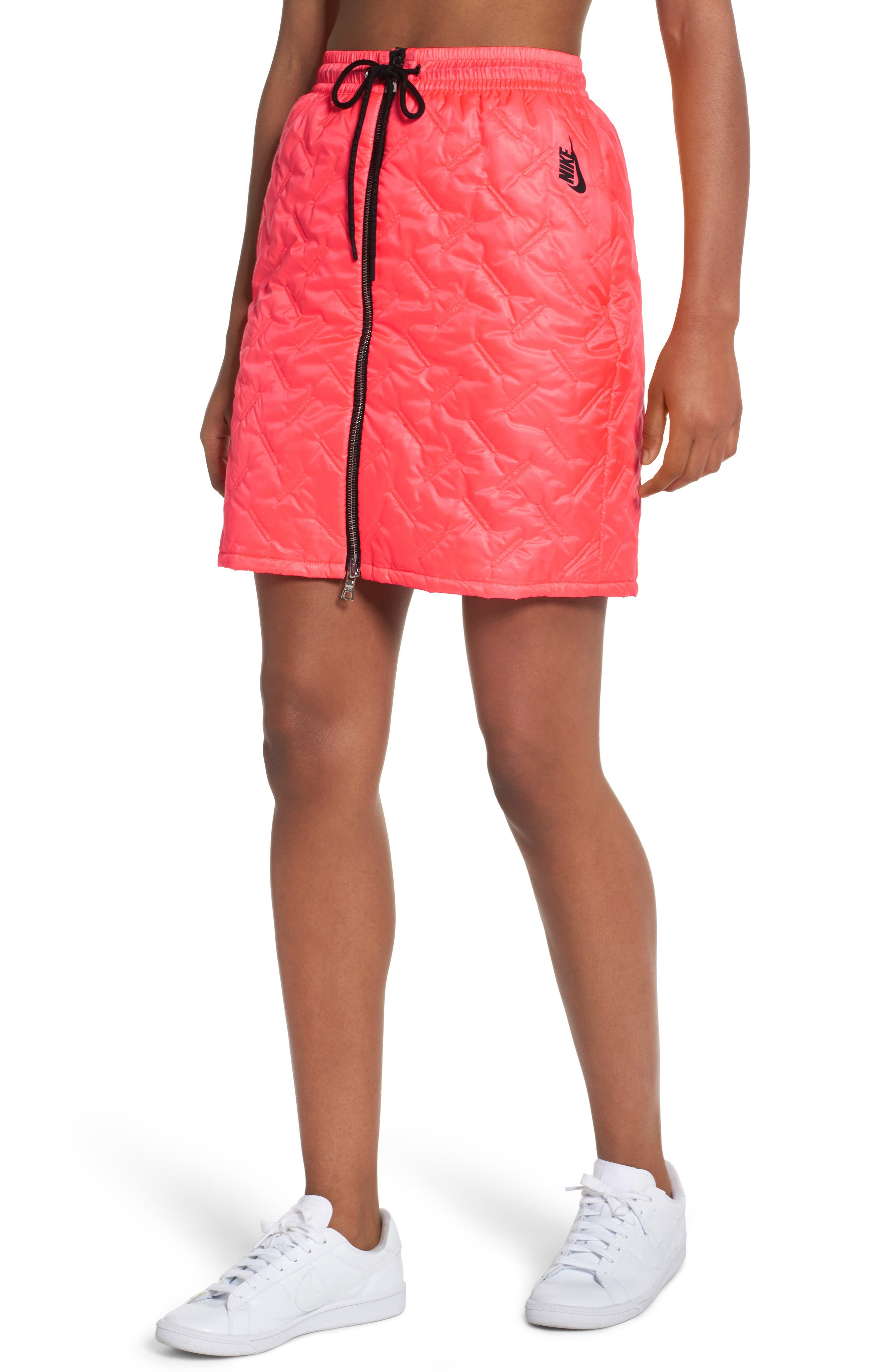 NikeLab Essentials Insulated Skirt,                             Main thumbnail 1, color,                             Hot Punch/ Black