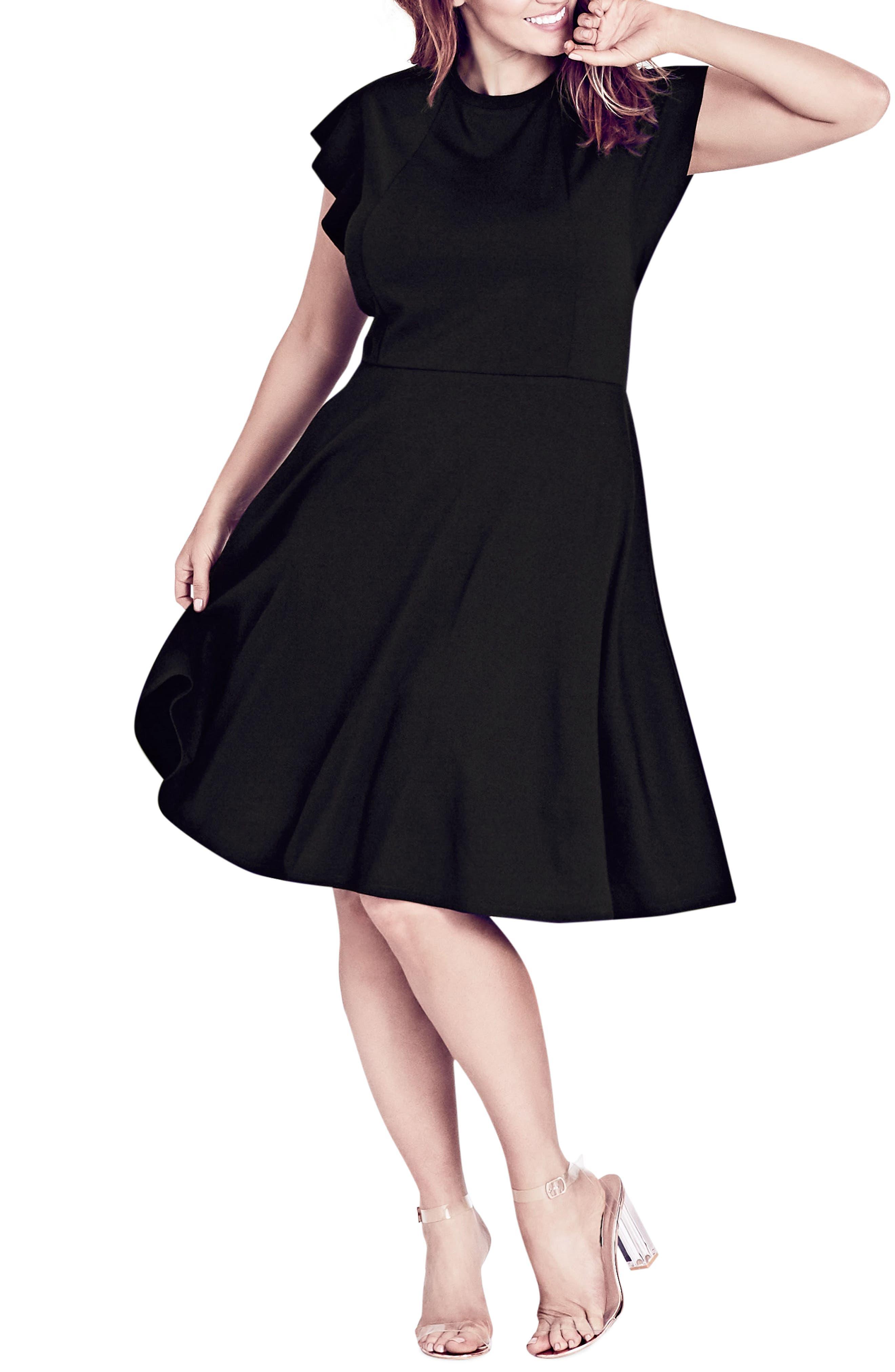 High Quality City Chic Frill Sleeve Fit U0026 Flare Dress (Plus Size). BLACK; VERMILLION