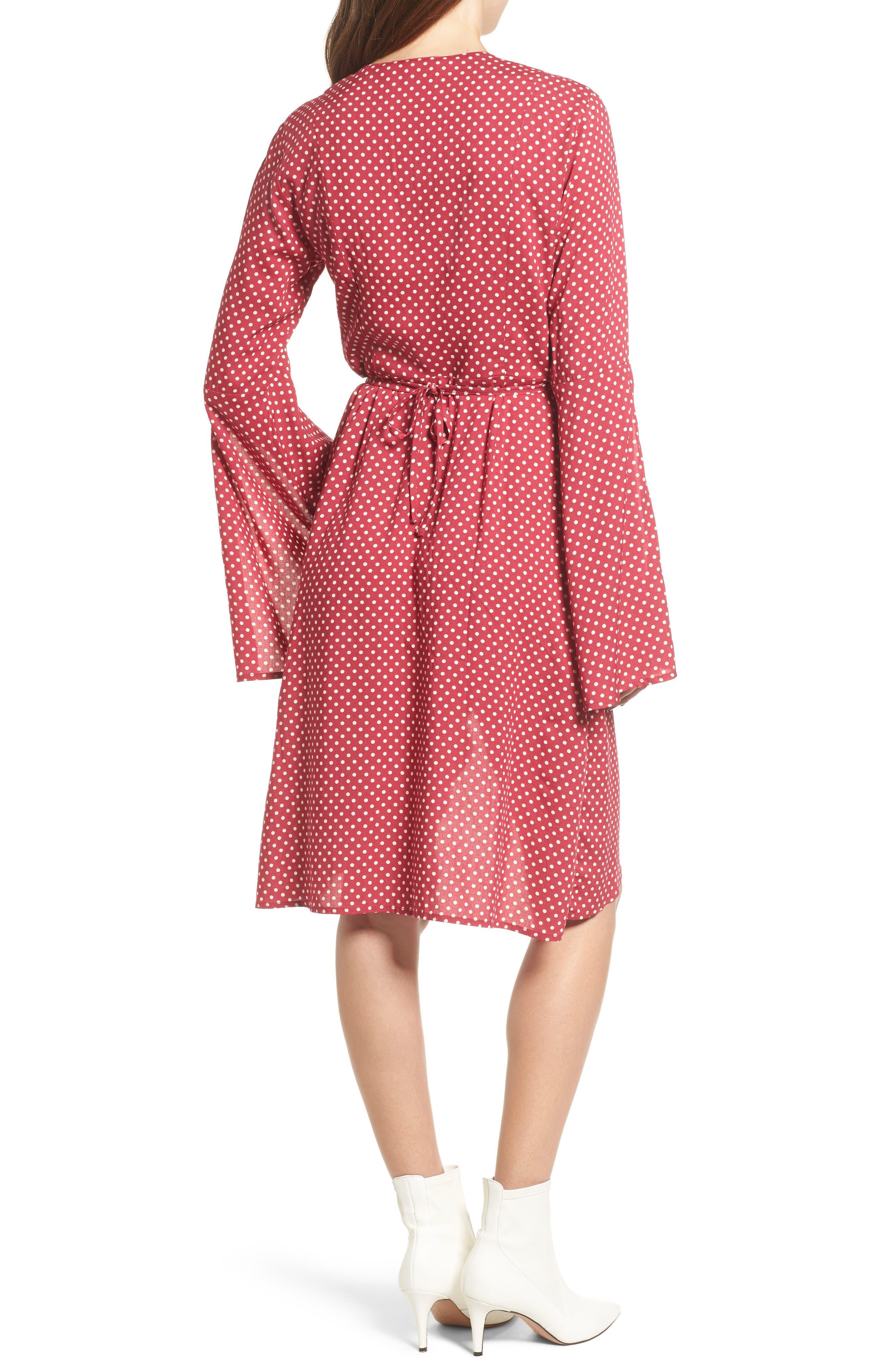Fearless Polka Dot Wrap Dress,                             Alternate thumbnail 3, color,                             Multi Red