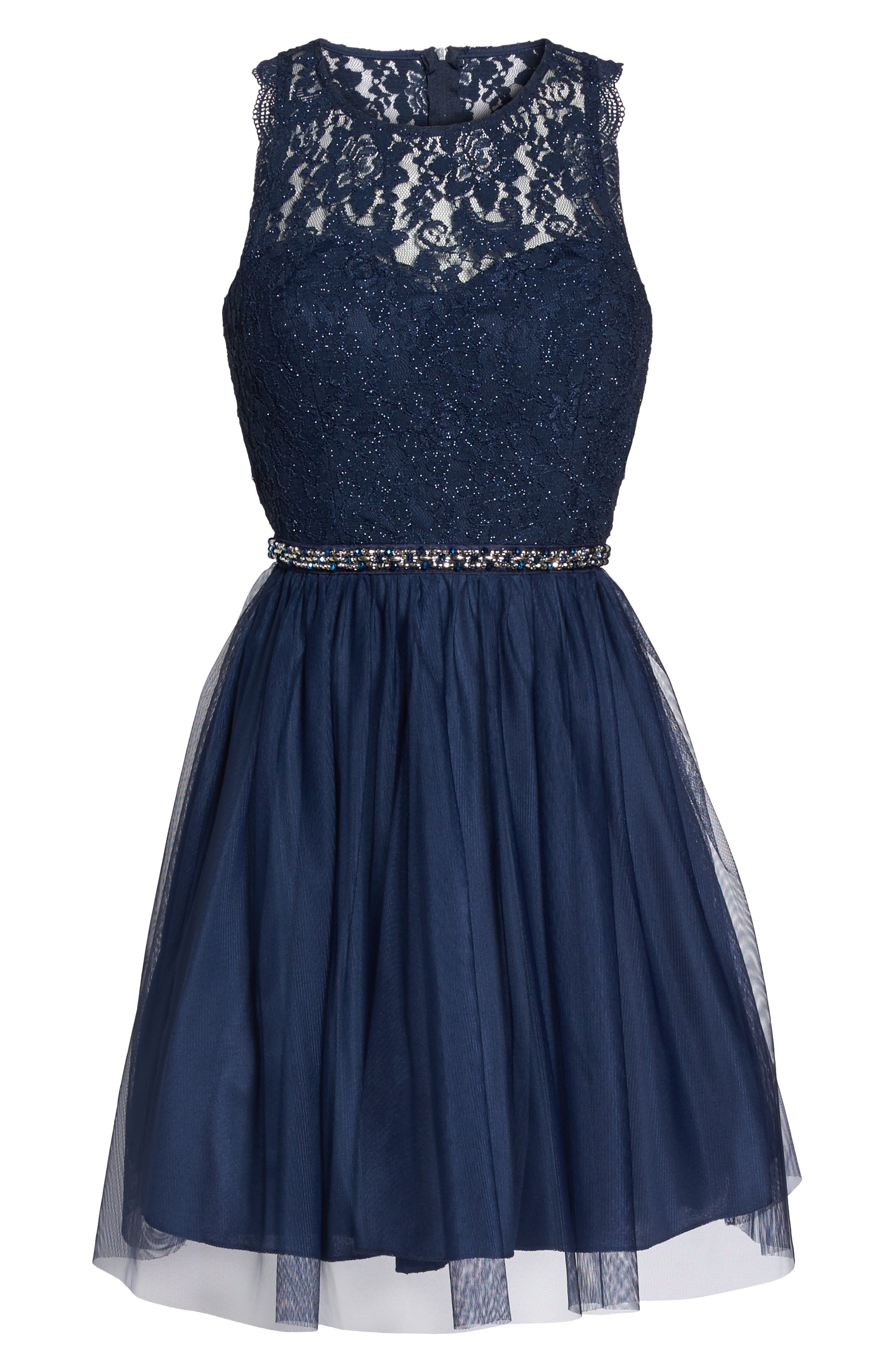 Glitter Lace Fit & Flare Dress,                             Alternate thumbnail 6, color,                             Navy
