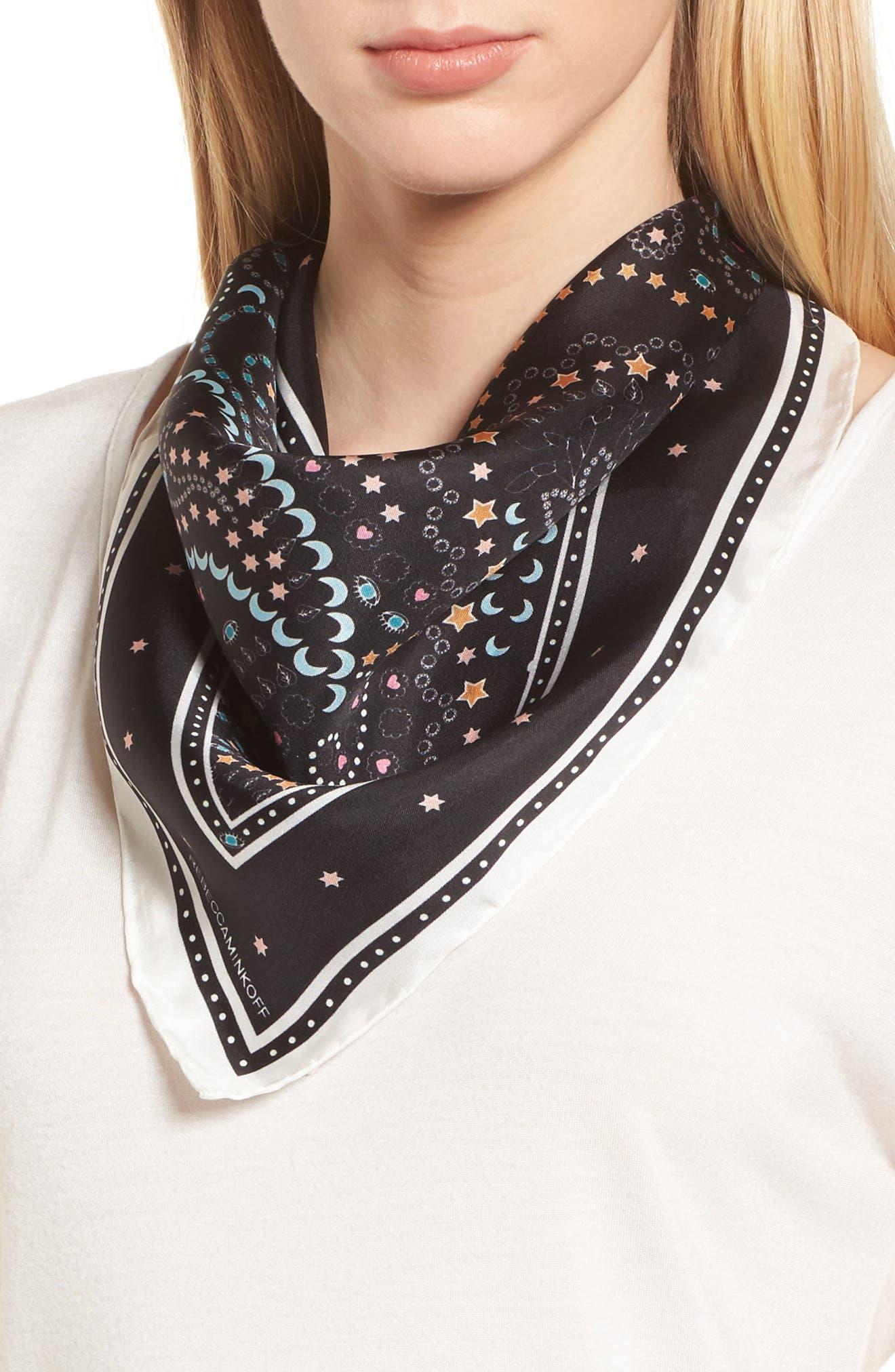 Paisley Symbols Silk Bandana,                         Main,                         color, Black