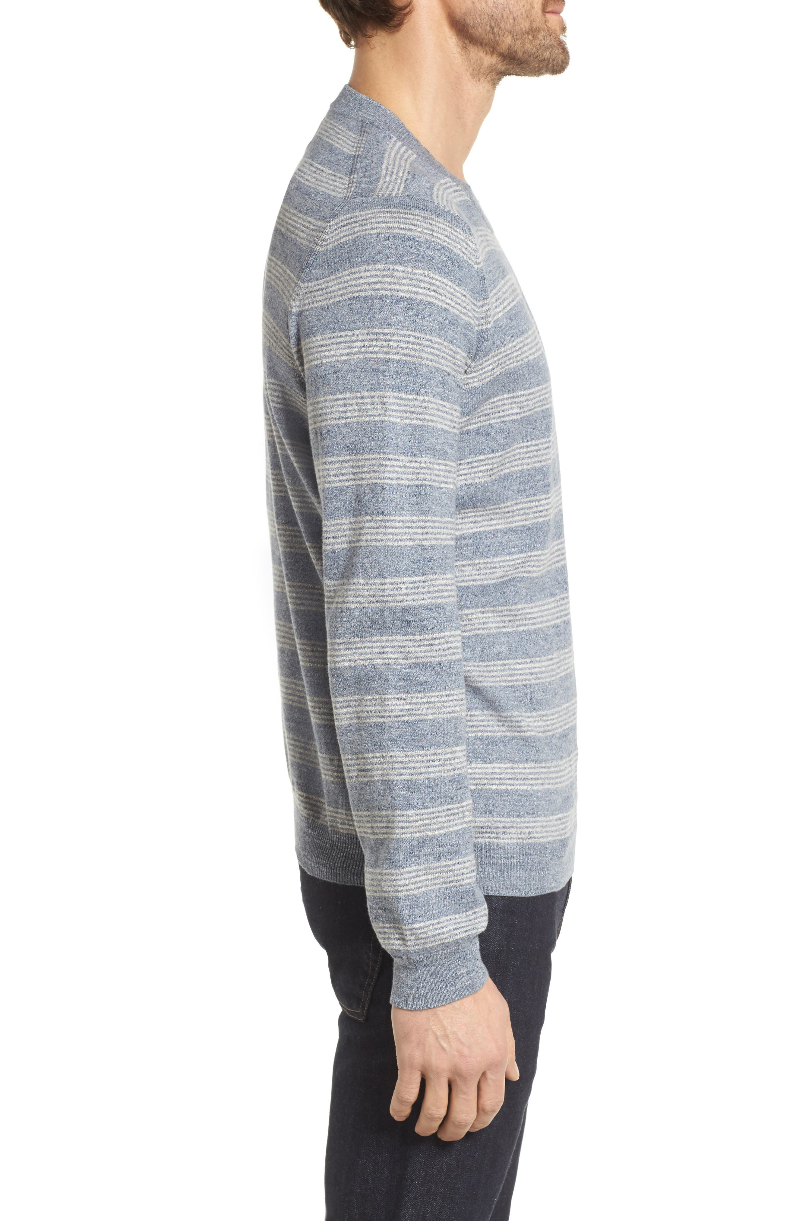 Stripe Cotton Sweater,                             Alternate thumbnail 3, color,                             Blue Grey Heather Stripe