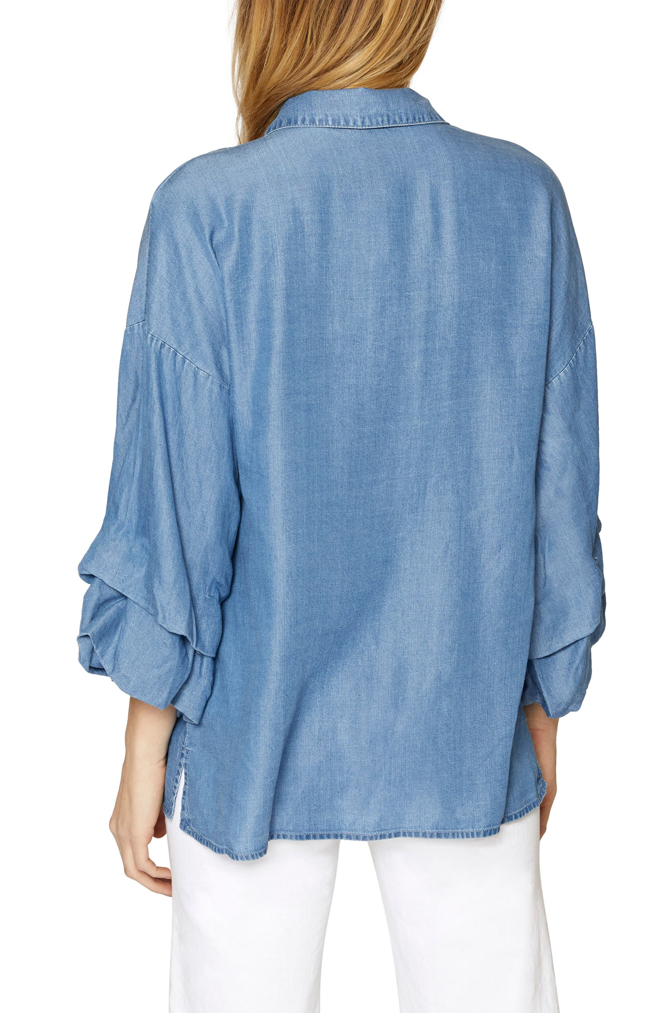 Brynn Gathered Sleeve Shirt,                             Alternate thumbnail 2, color,                             Sky Wash