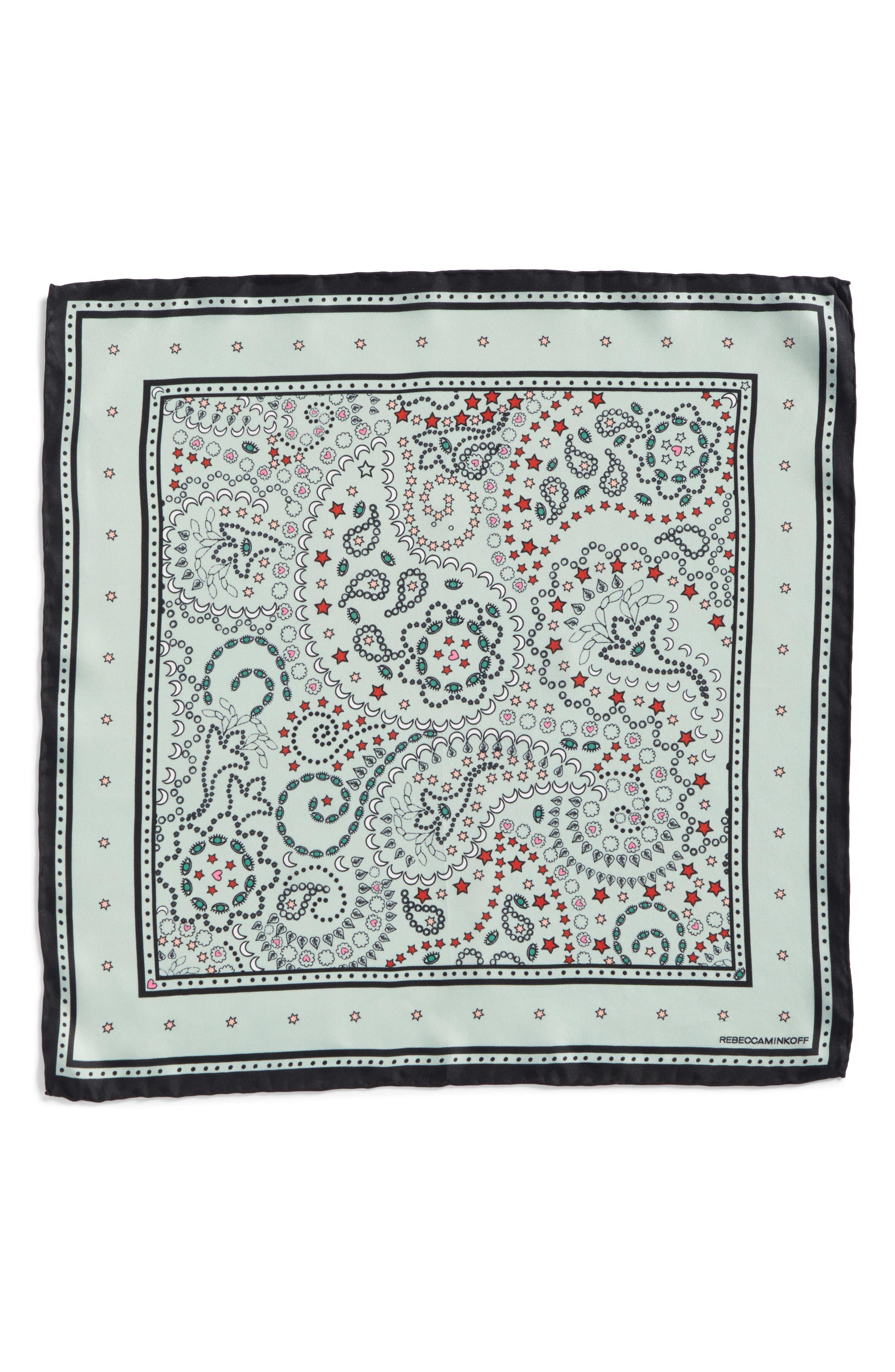 Paisley Symbols Silk Bandana,                             Alternate thumbnail 3, color,                             Green
