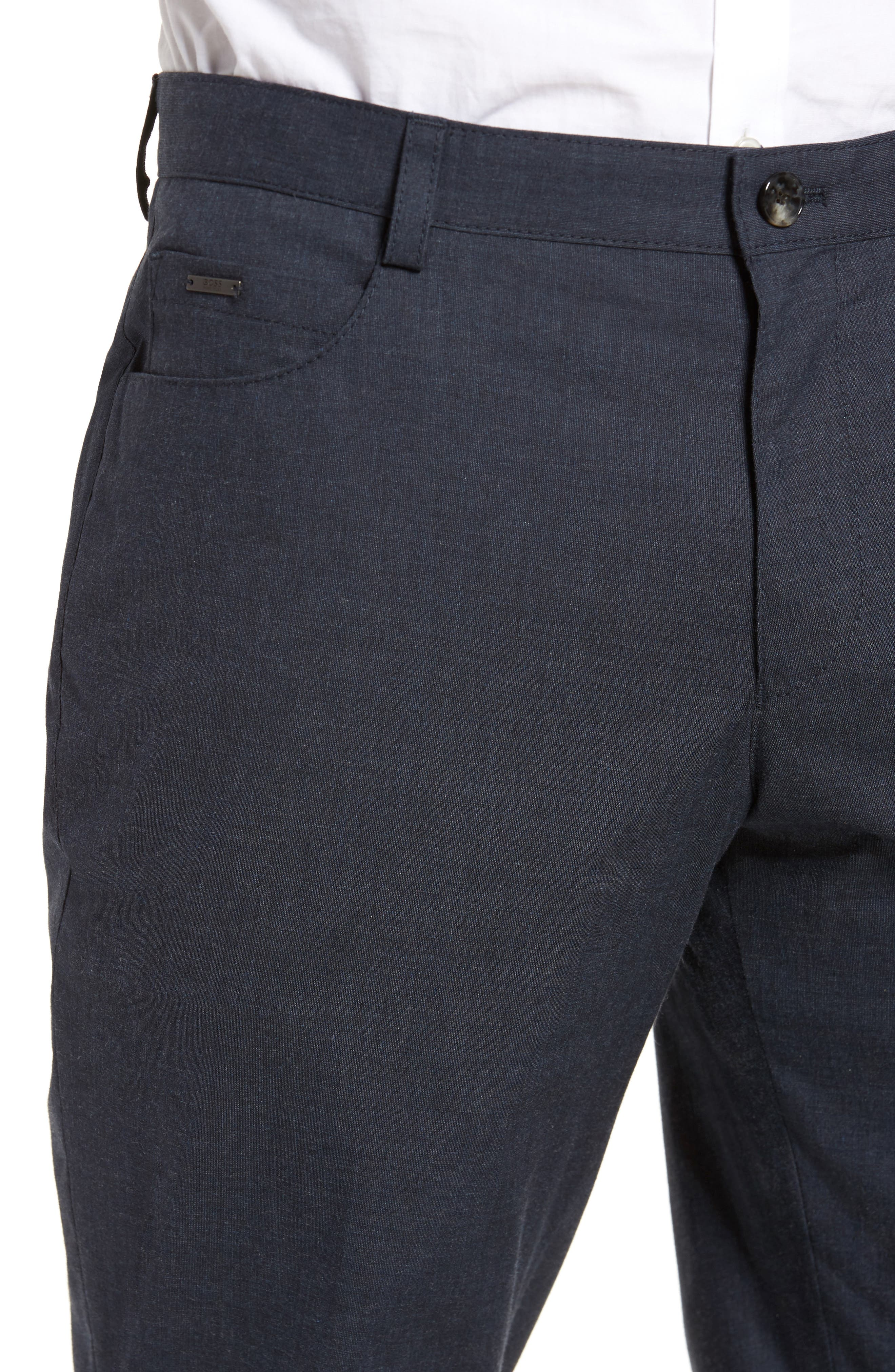 Gaetano Flat Front Stretch Solid Cotton Trousers,                             Alternate thumbnail 4, color,                             Dark Grey