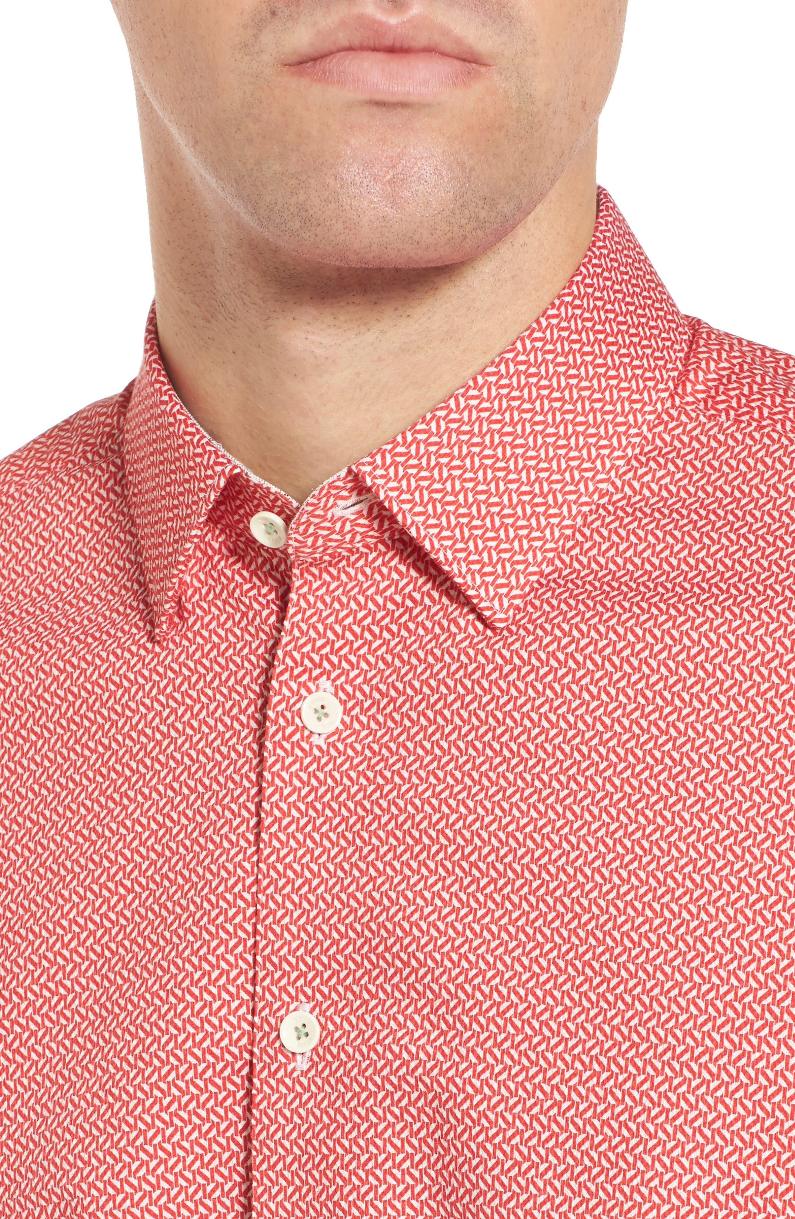 Alternate Image 4  - Ted Baker London Slim Fit Print Sport Shirt