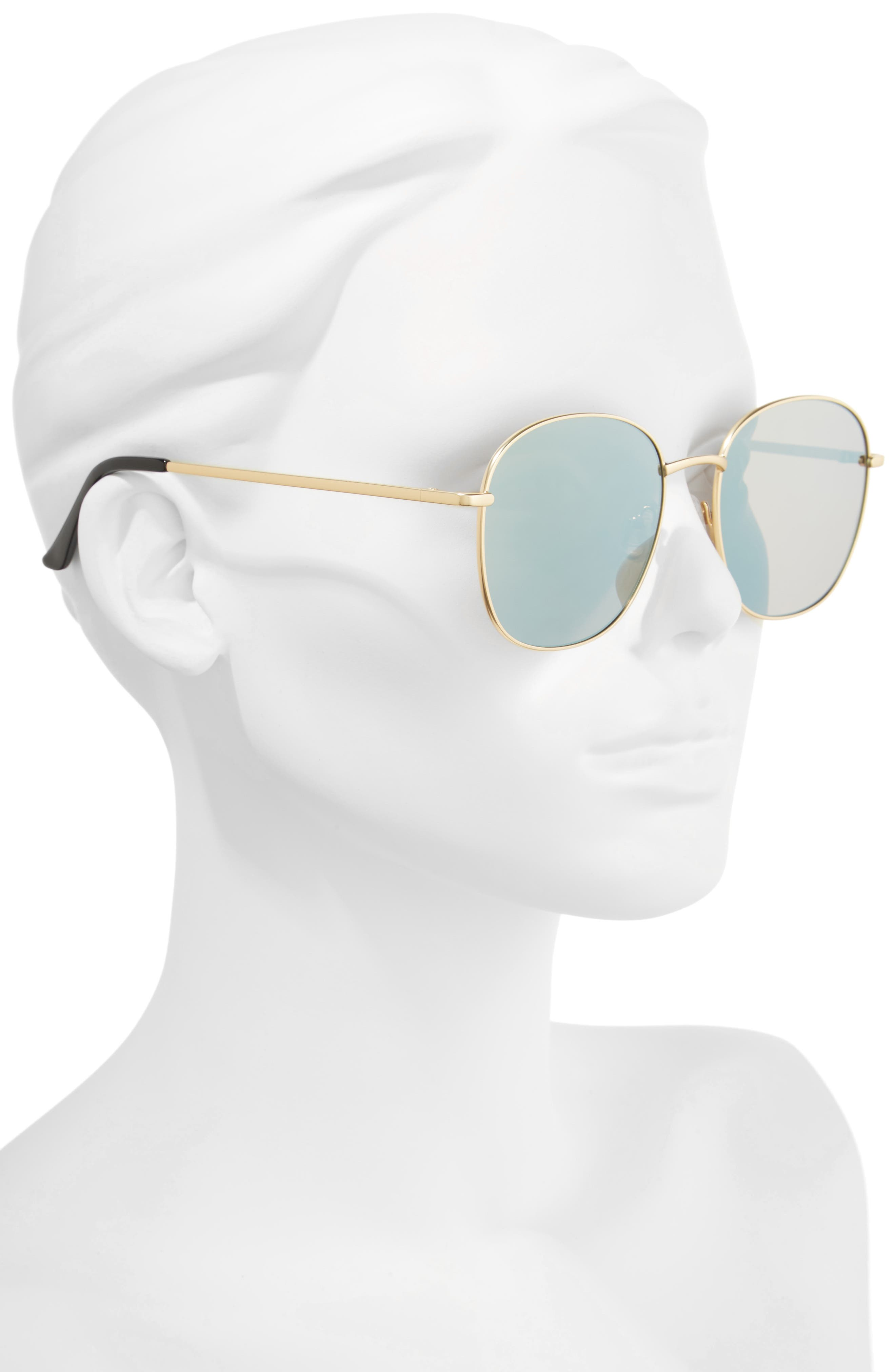 Jezabell 57mm Round Sunglasses,                             Alternate thumbnail 5, color,                             Gold/ Gold