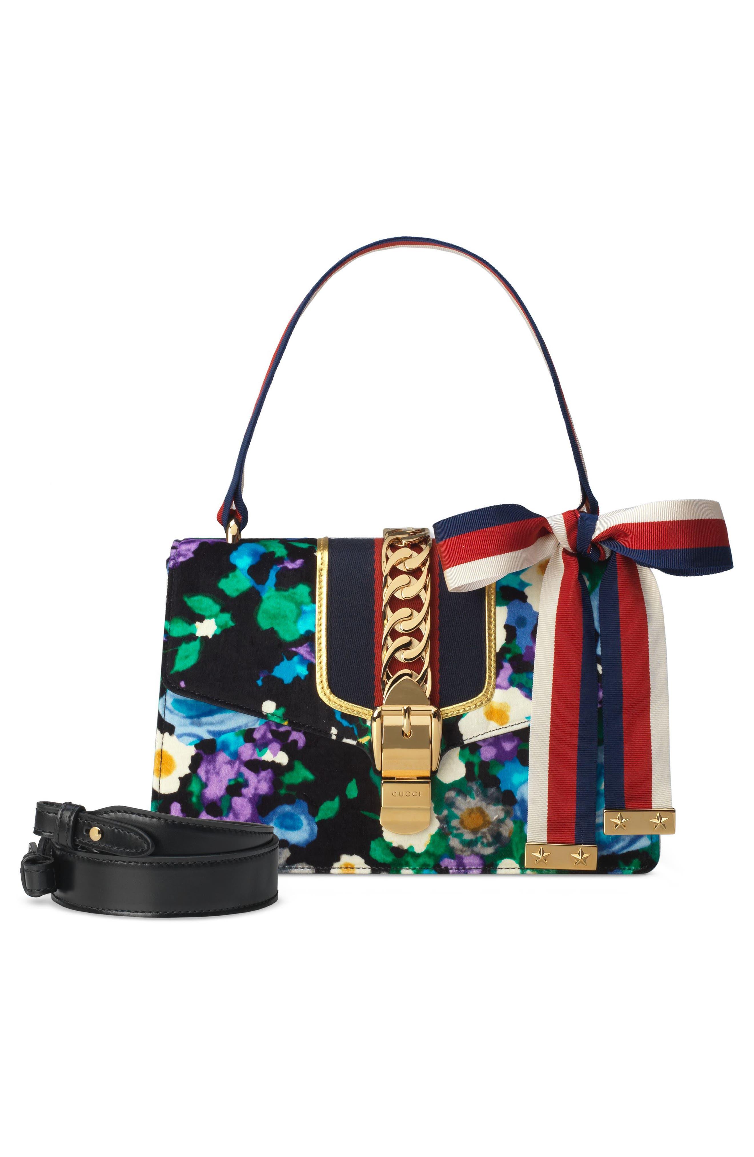 Small Floral Print Leather Shoulder Bag,                             Alternate thumbnail 5, color,                             Black/ Blue Red Blue