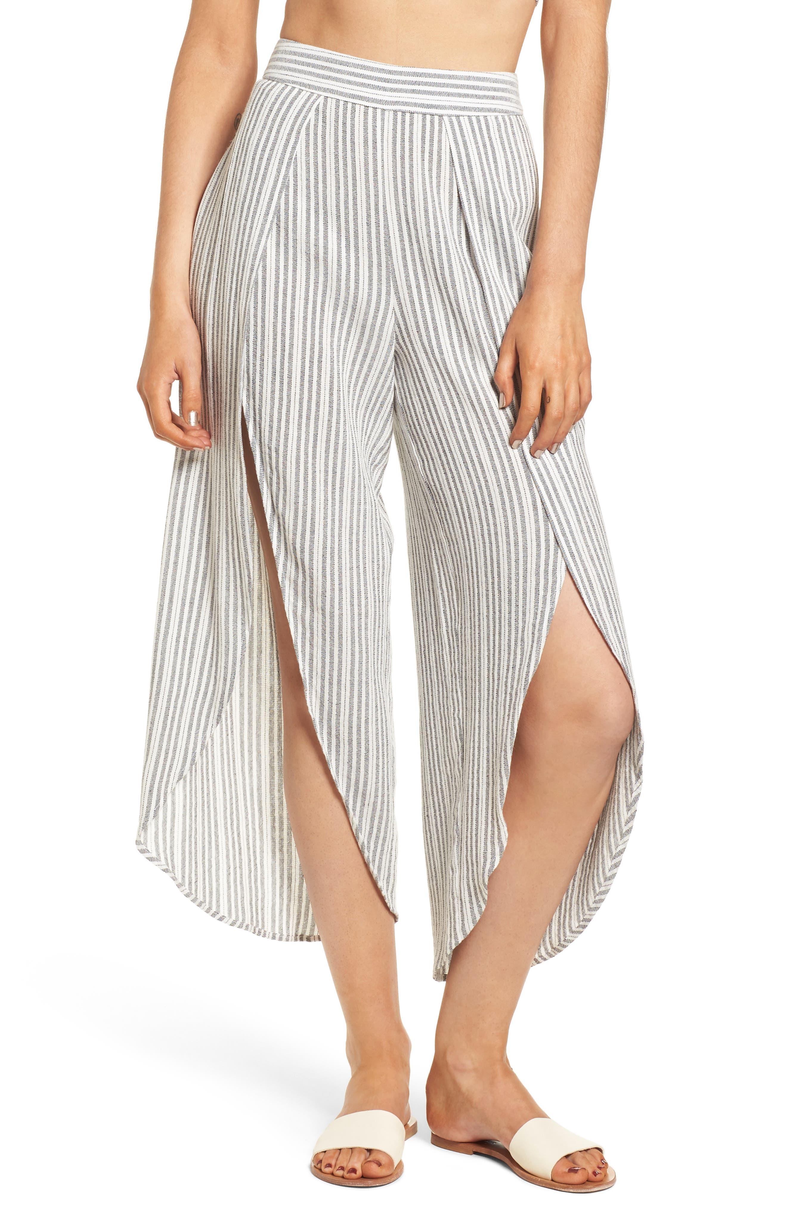 Kika Stripe Split Culottes,                             Main thumbnail 1, color,                             Grey