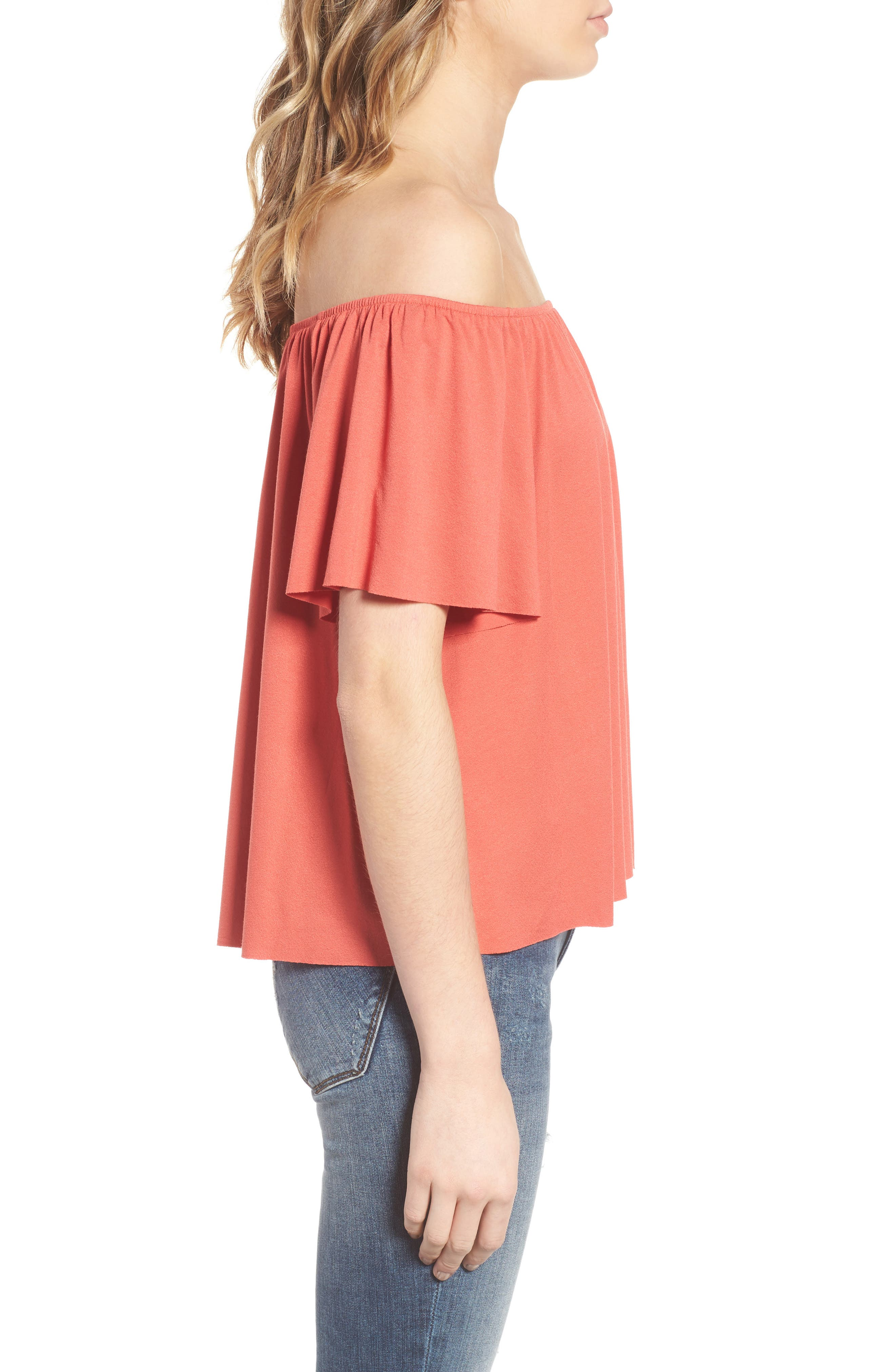 Off the Shoulder Top,                             Alternate thumbnail 3, color,                             Rust Sienna