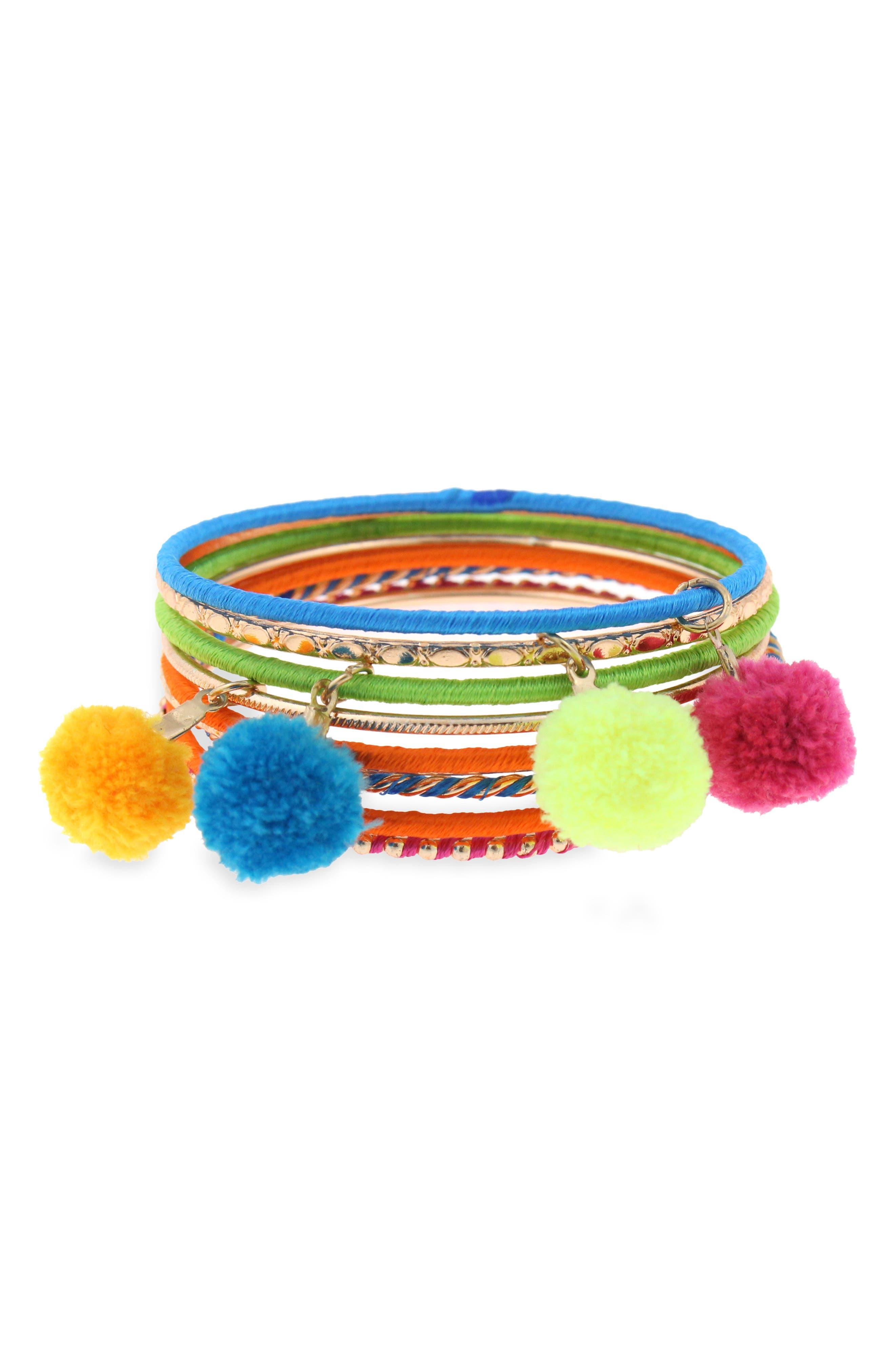 Set of 9 Bangle Bracelets,                             Main thumbnail 1, color,                             Metallic Multi