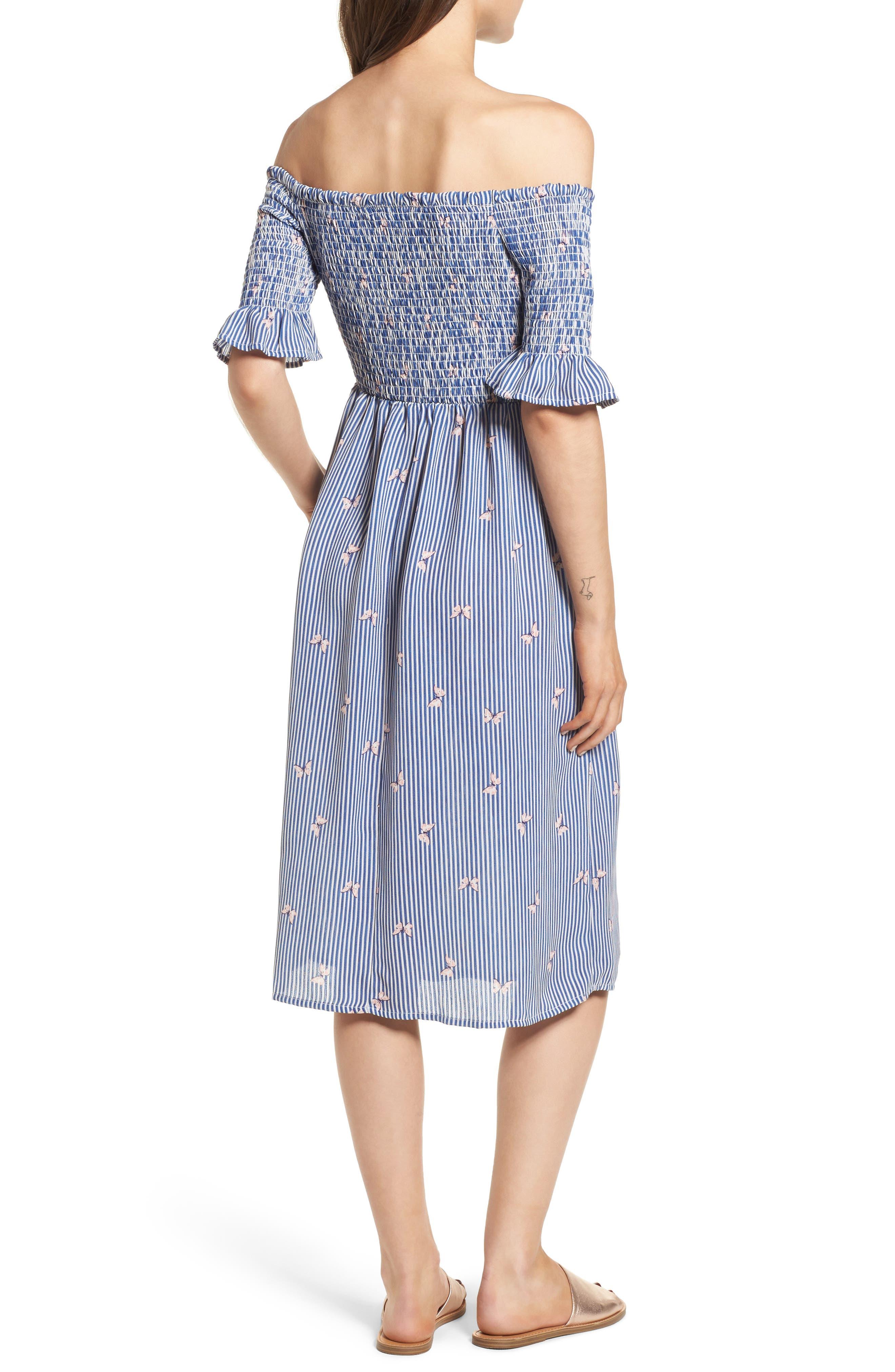 Smocked Midi Dress,                             Alternate thumbnail 2, color,                             Off White/ Blue