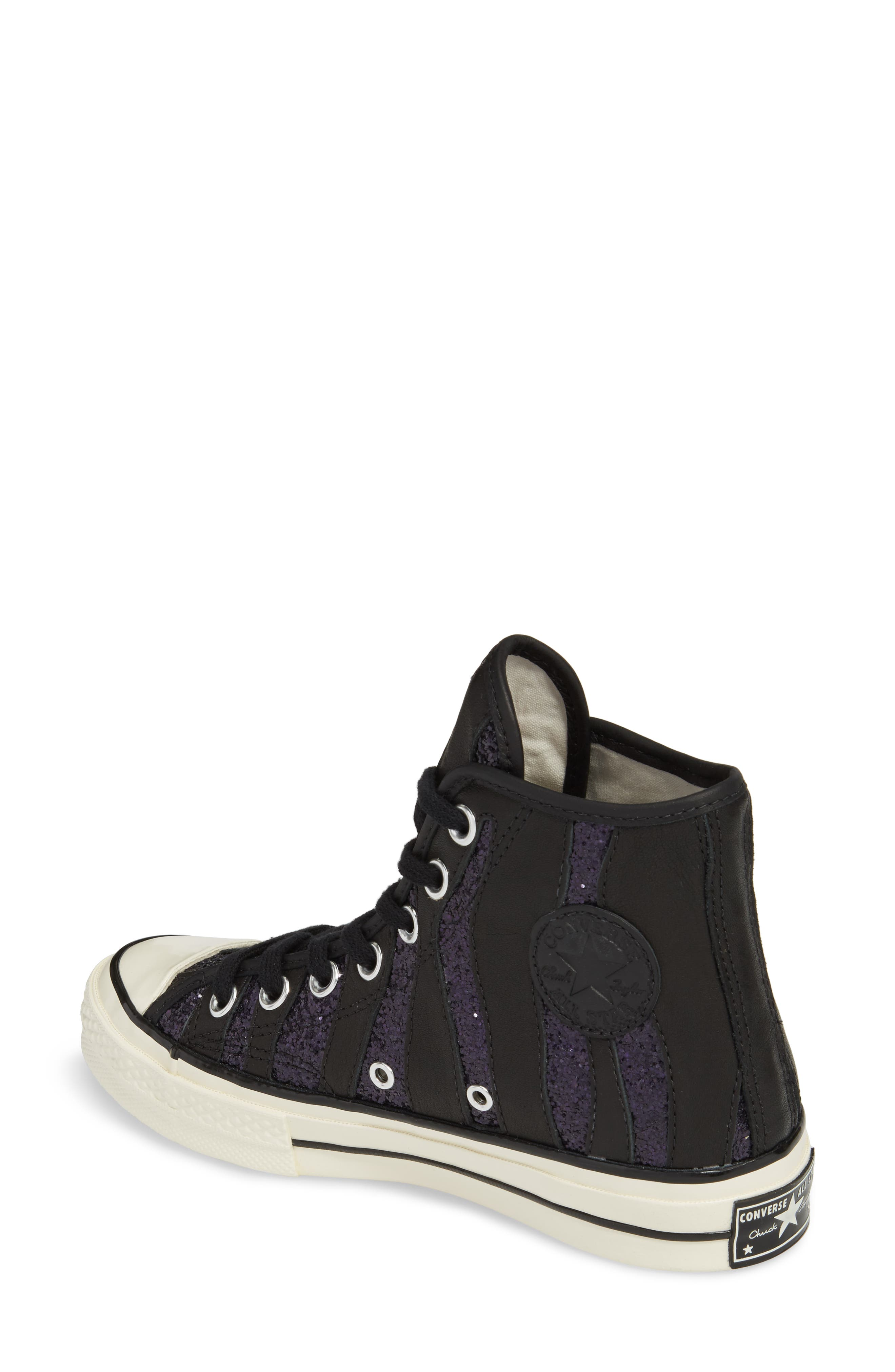 Chuck Taylor<sup>®</sup> All Star<sup>®</sup> 70 Animal Glitter High Top Sneaker,                             Alternate thumbnail 2, color,                             Black