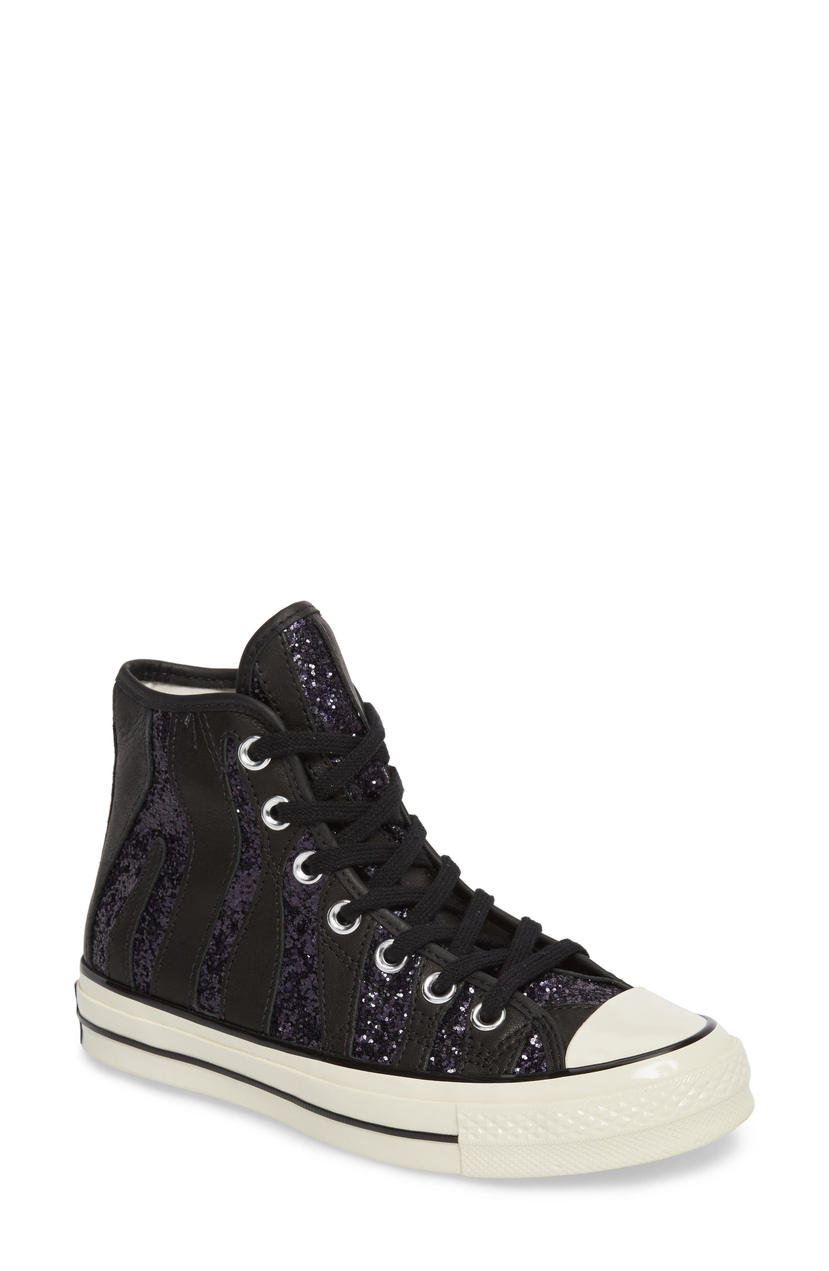Chuck Taylor<sup>®</sup> All Star<sup>®</sup> 70 Animal Glitter High Top Sneaker,                             Main thumbnail 1, color,                             Black