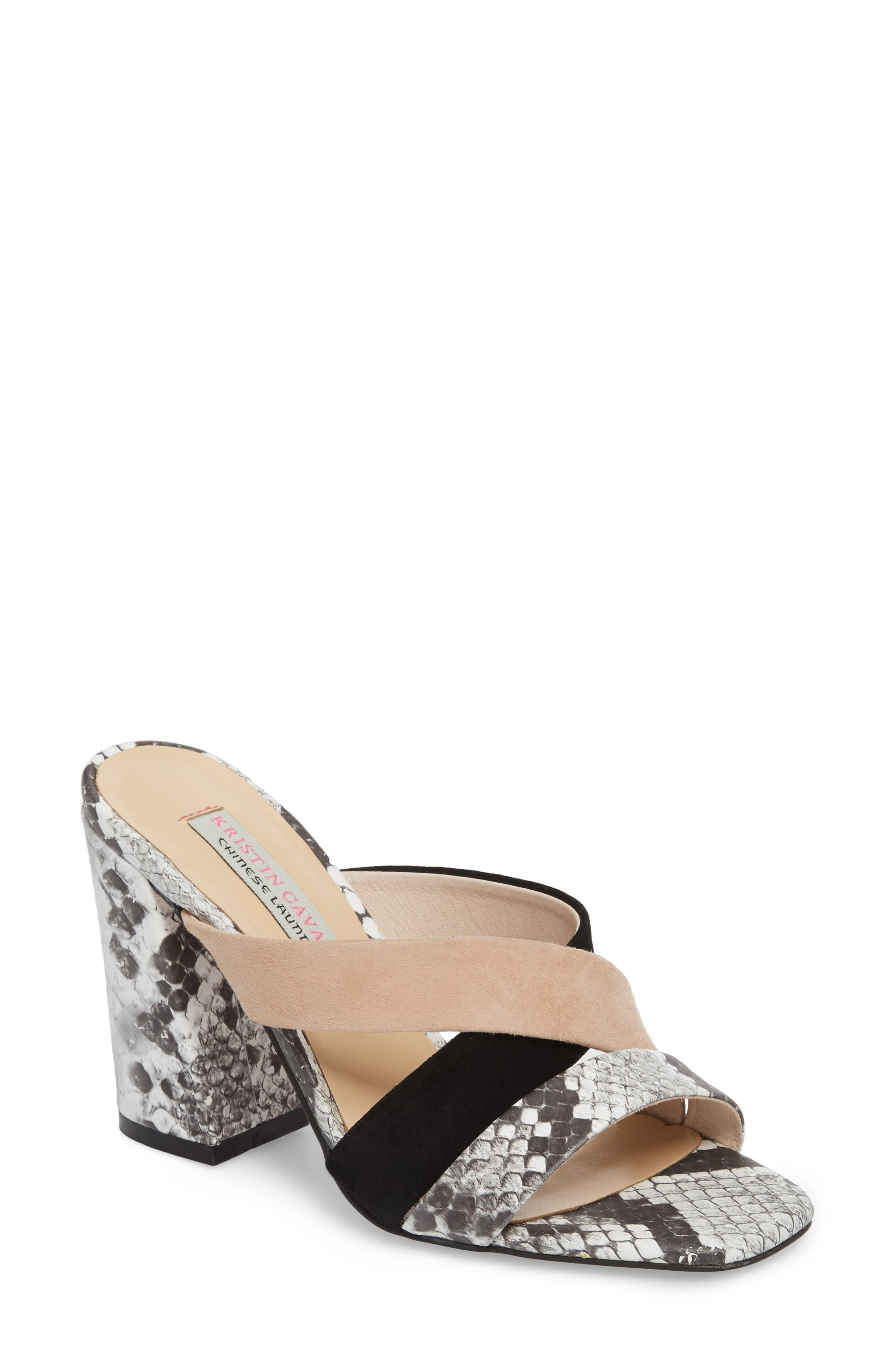 Lola Slide Sandal,                             Main thumbnail 1, color,                             Grey/ White Print Leather