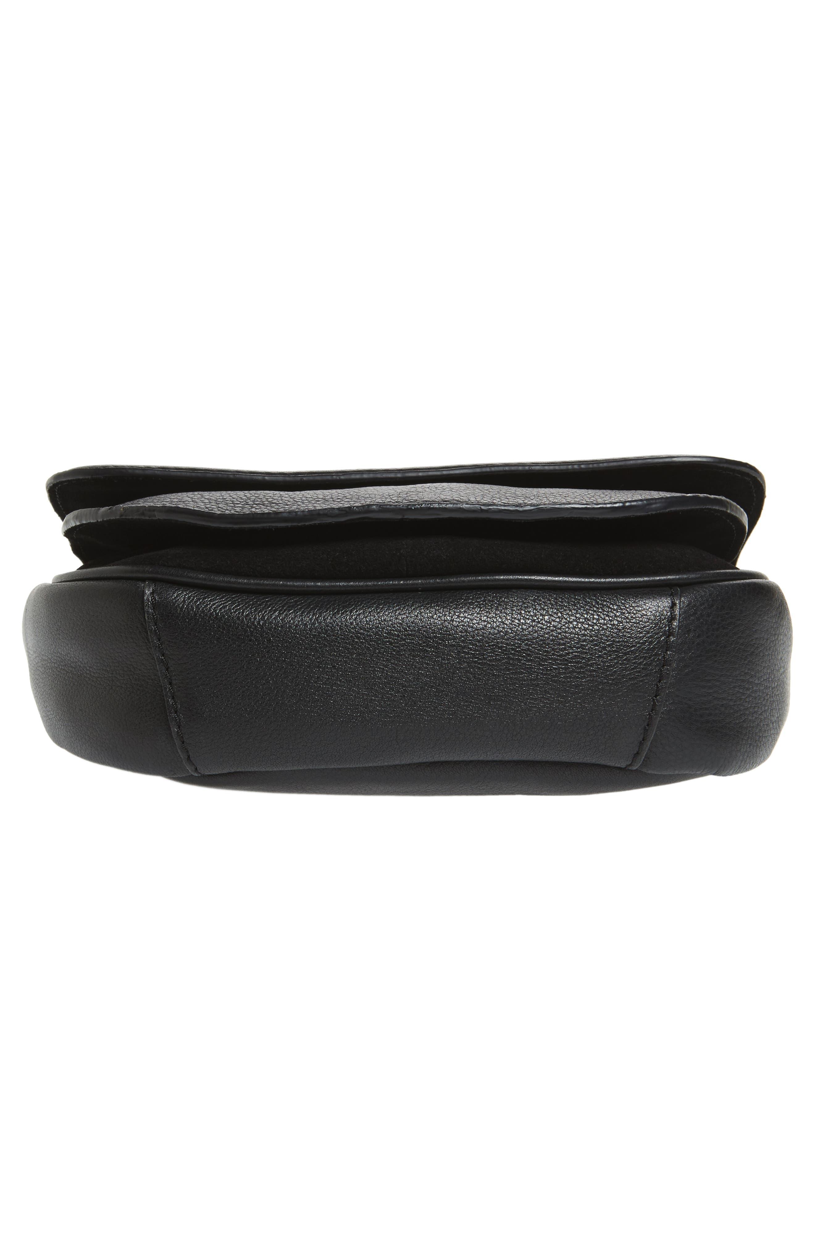 Jasmine Leather Saddle Bag,                             Alternate thumbnail 6, color,                             Black