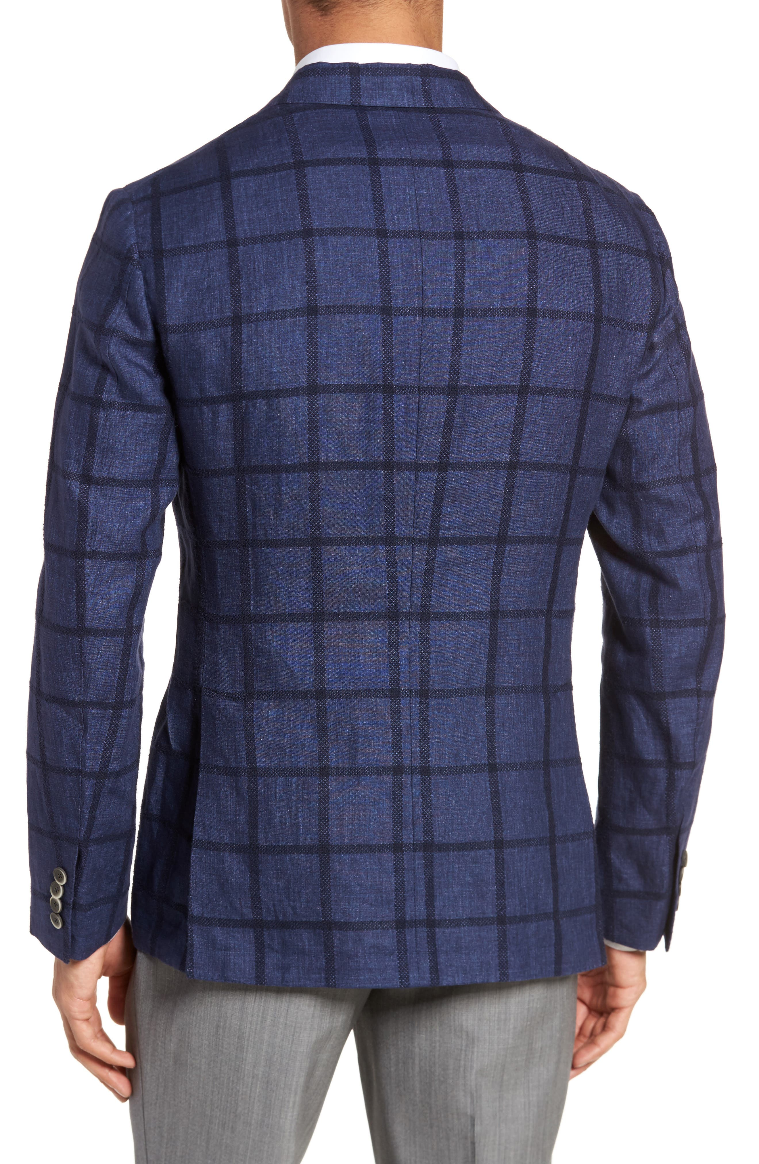 Trim Fit Windowpane Linen Blend Sport Coat,                             Alternate thumbnail 2, color,                             Navy