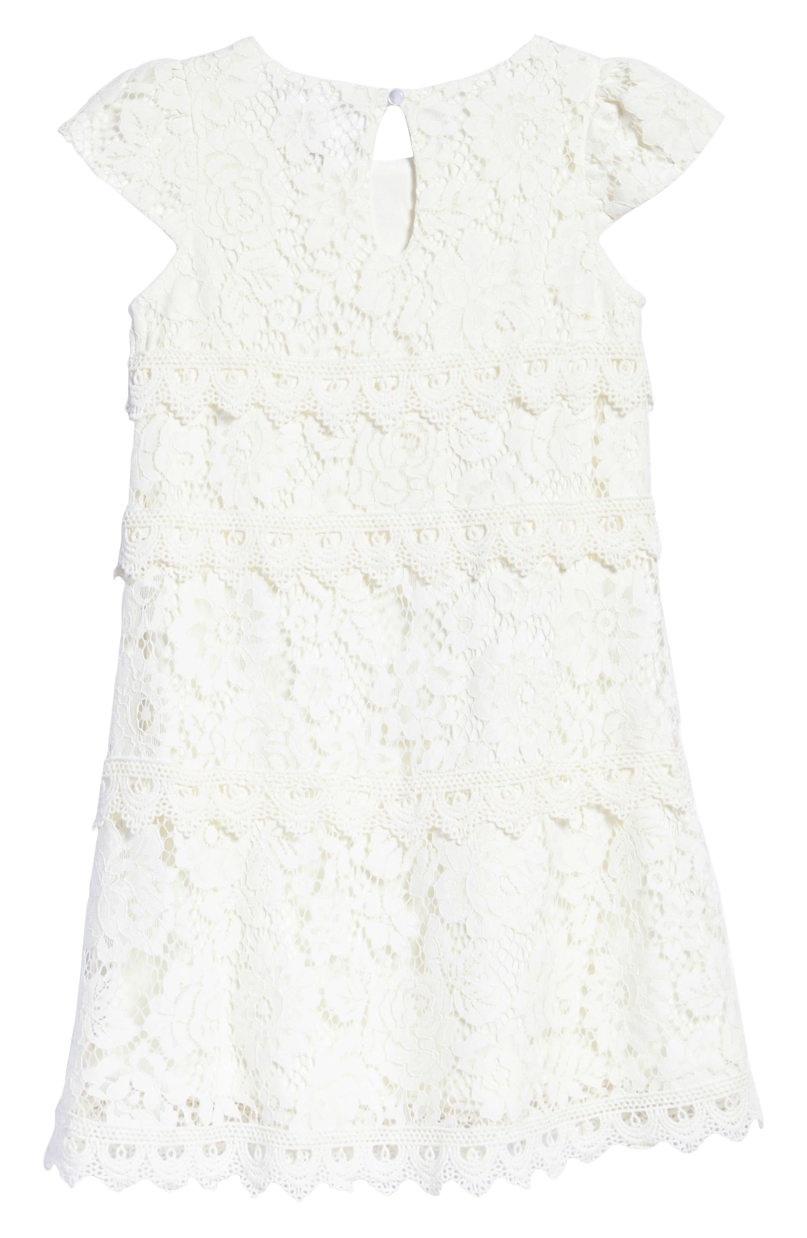 Lace Shift Dress,                             Alternate thumbnail 2, color,                             Ivory