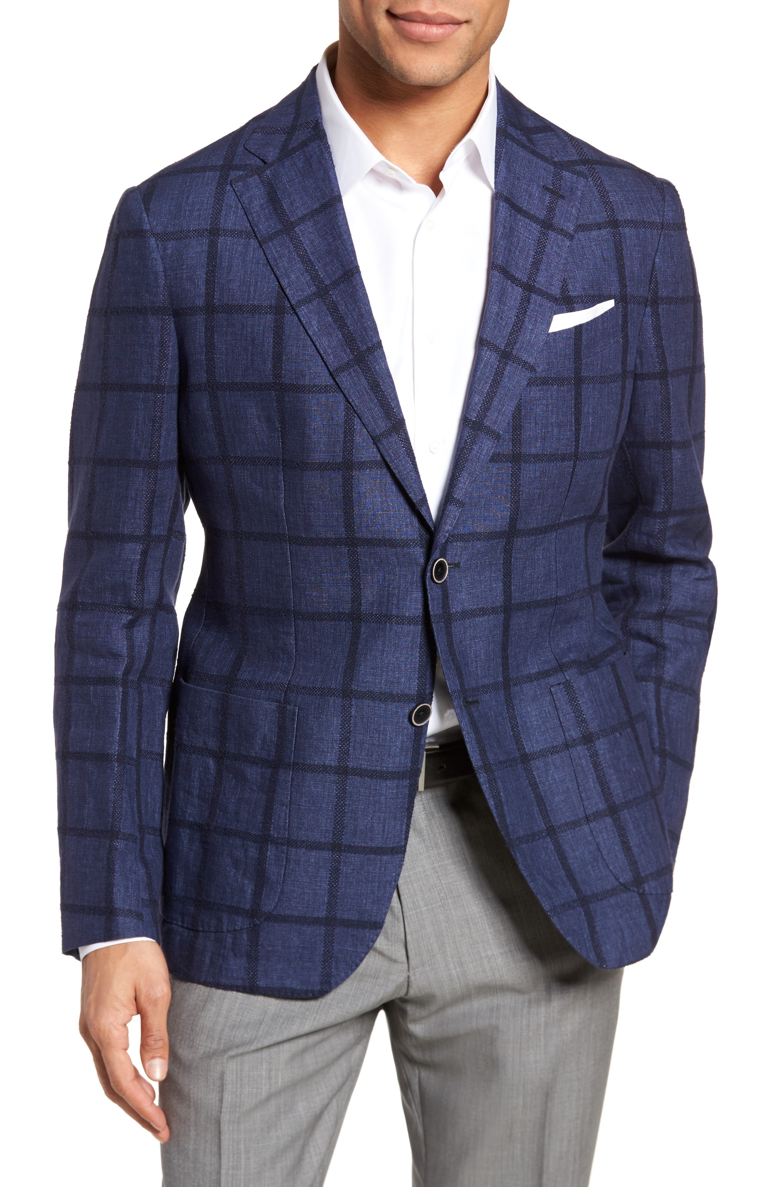 Trim Fit Windowpane Linen Blend Sport Coat,                             Main thumbnail 1, color,                             Navy