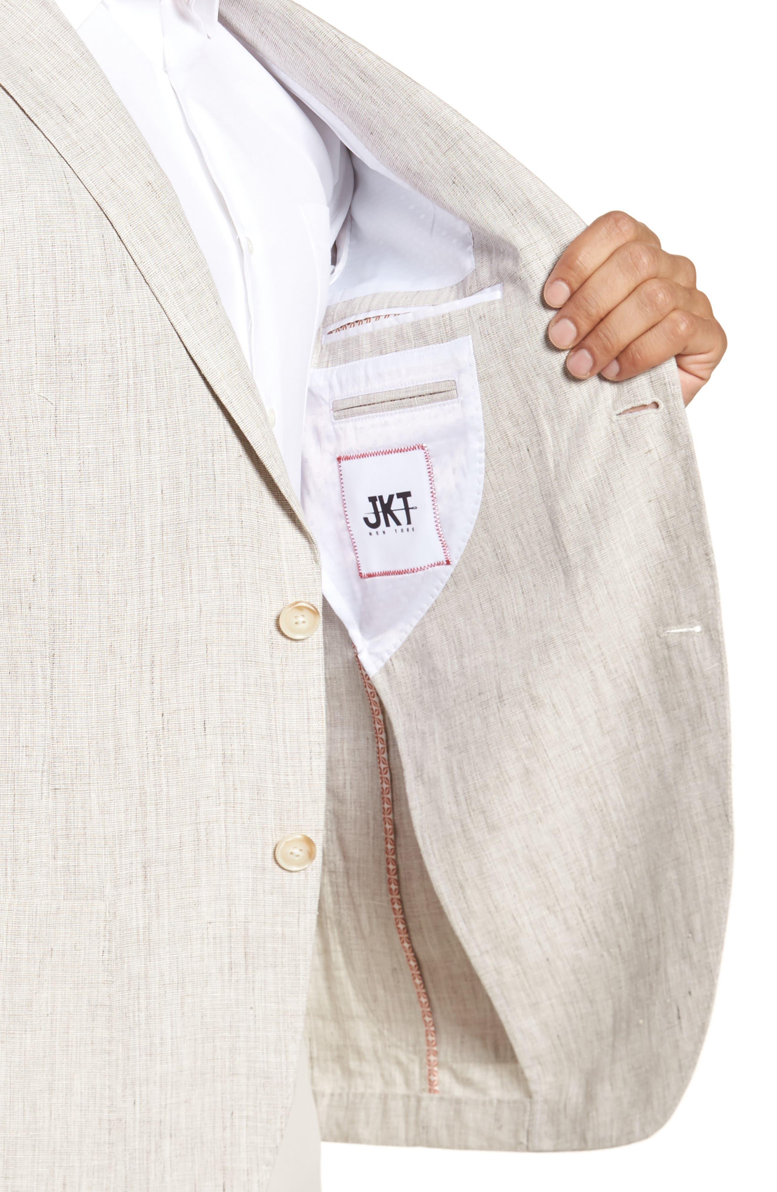 Trent Trim Fit Linen Blazer,                             Alternate thumbnail 4, color,                             Natural