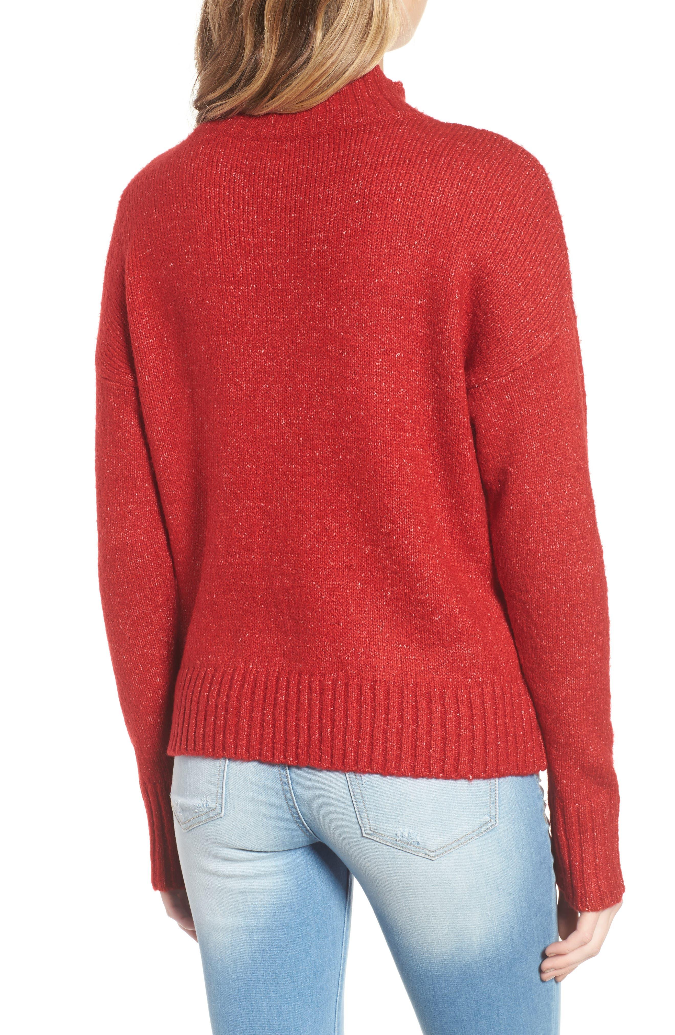 Mock Neck Patch Pocket Pullover,                             Alternate thumbnail 2, color,                             Red