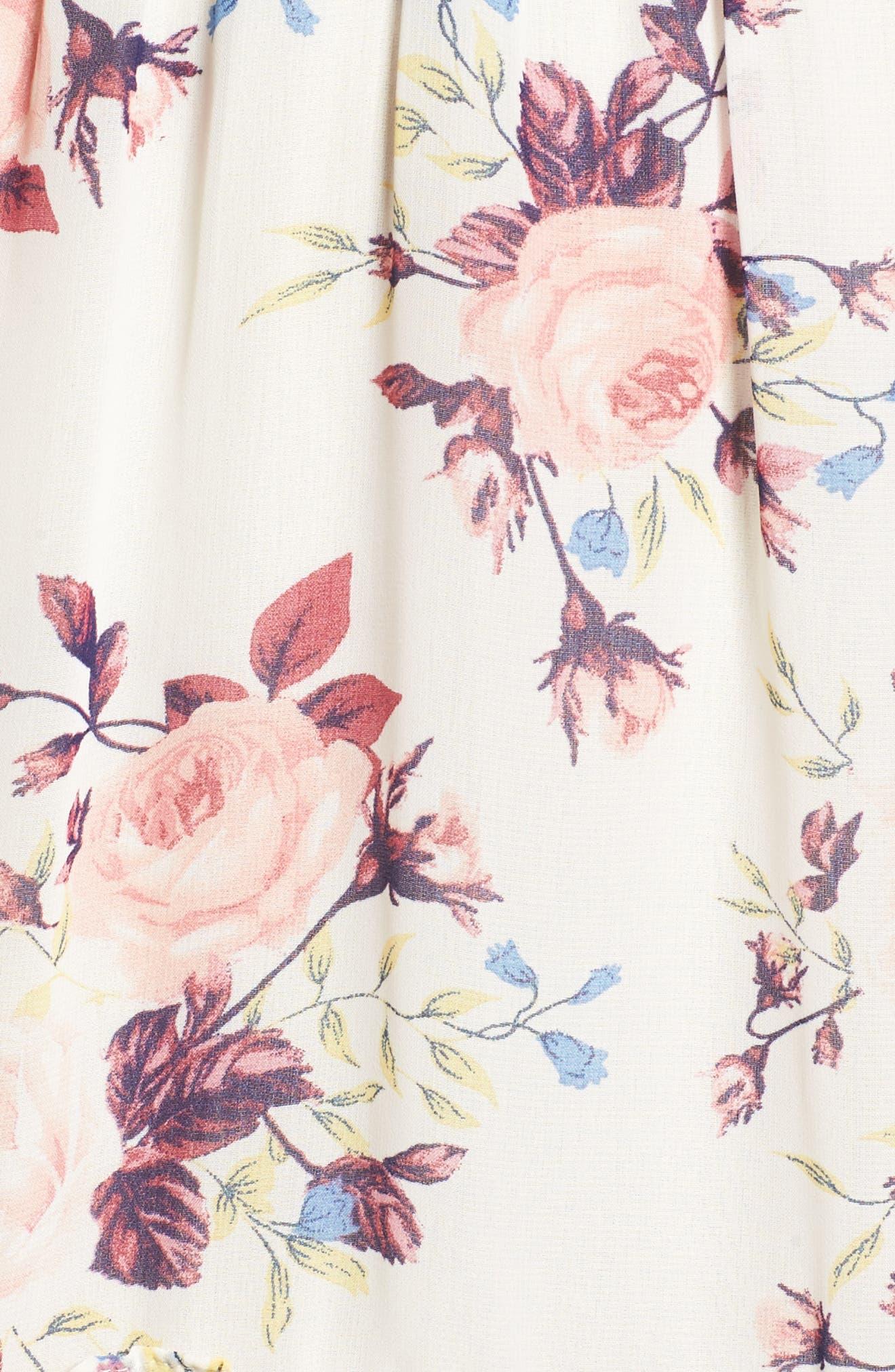 Aviana Midi Dress,                             Alternate thumbnail 5, color,                             White/ Multi Em10