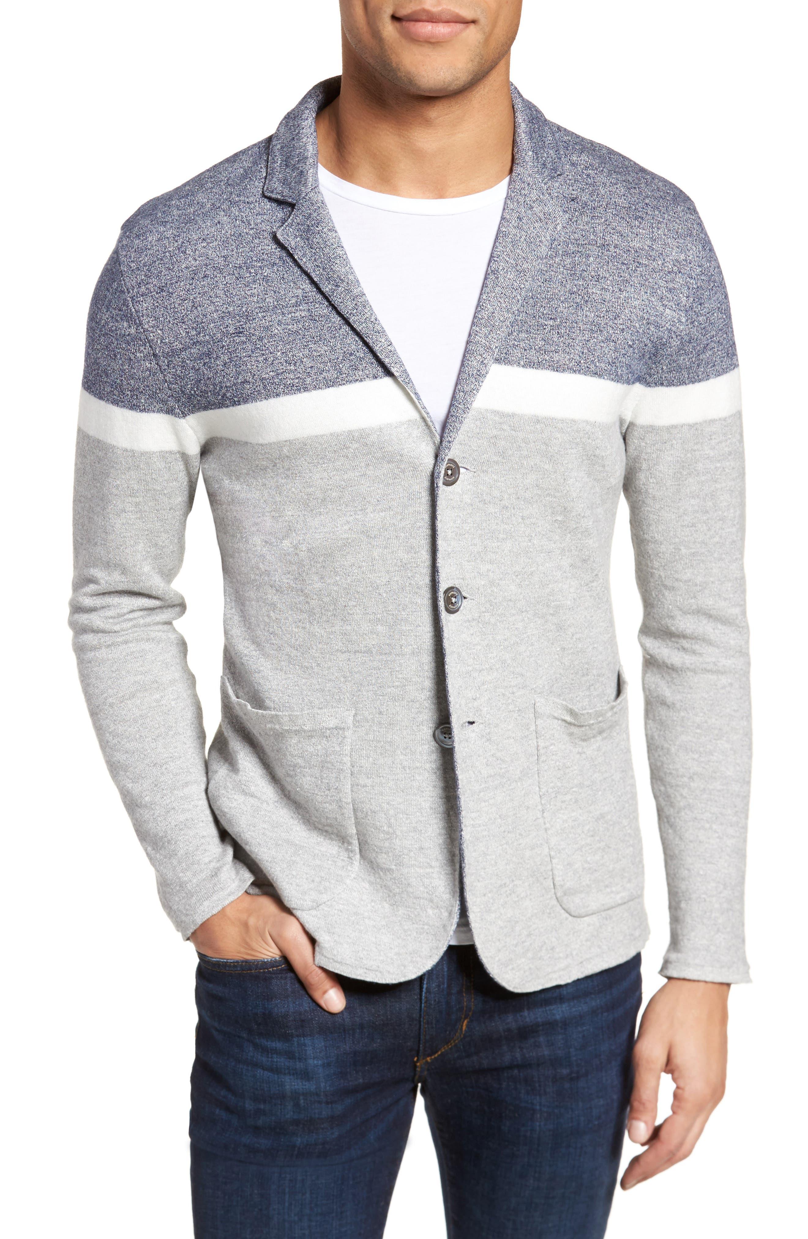 Colorblock Sweater Jacket,                         Main,                         color, Grey