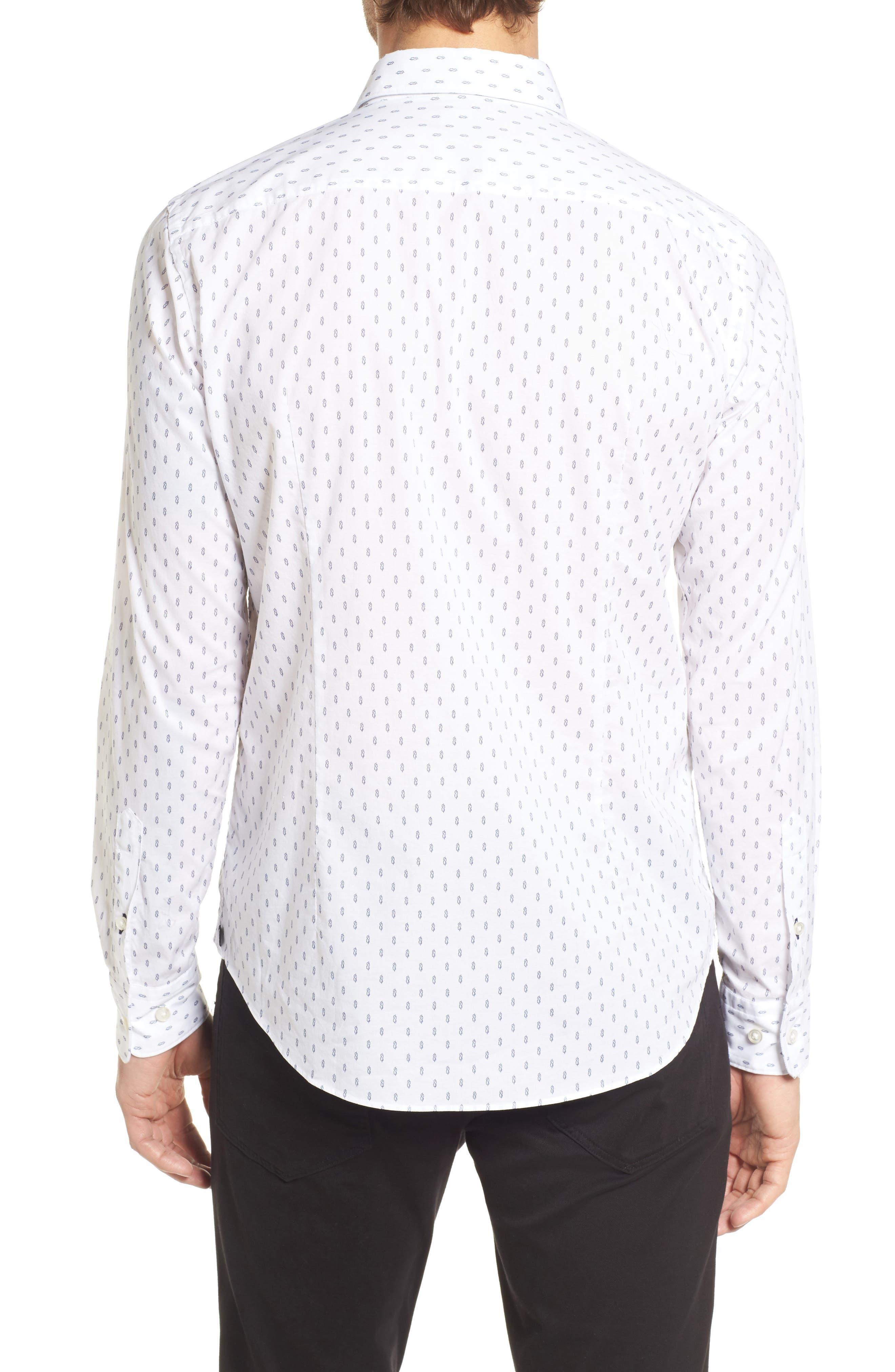 Ronni Slim Fit Print Sport Shirt,                             Alternate thumbnail 3, color,                             White