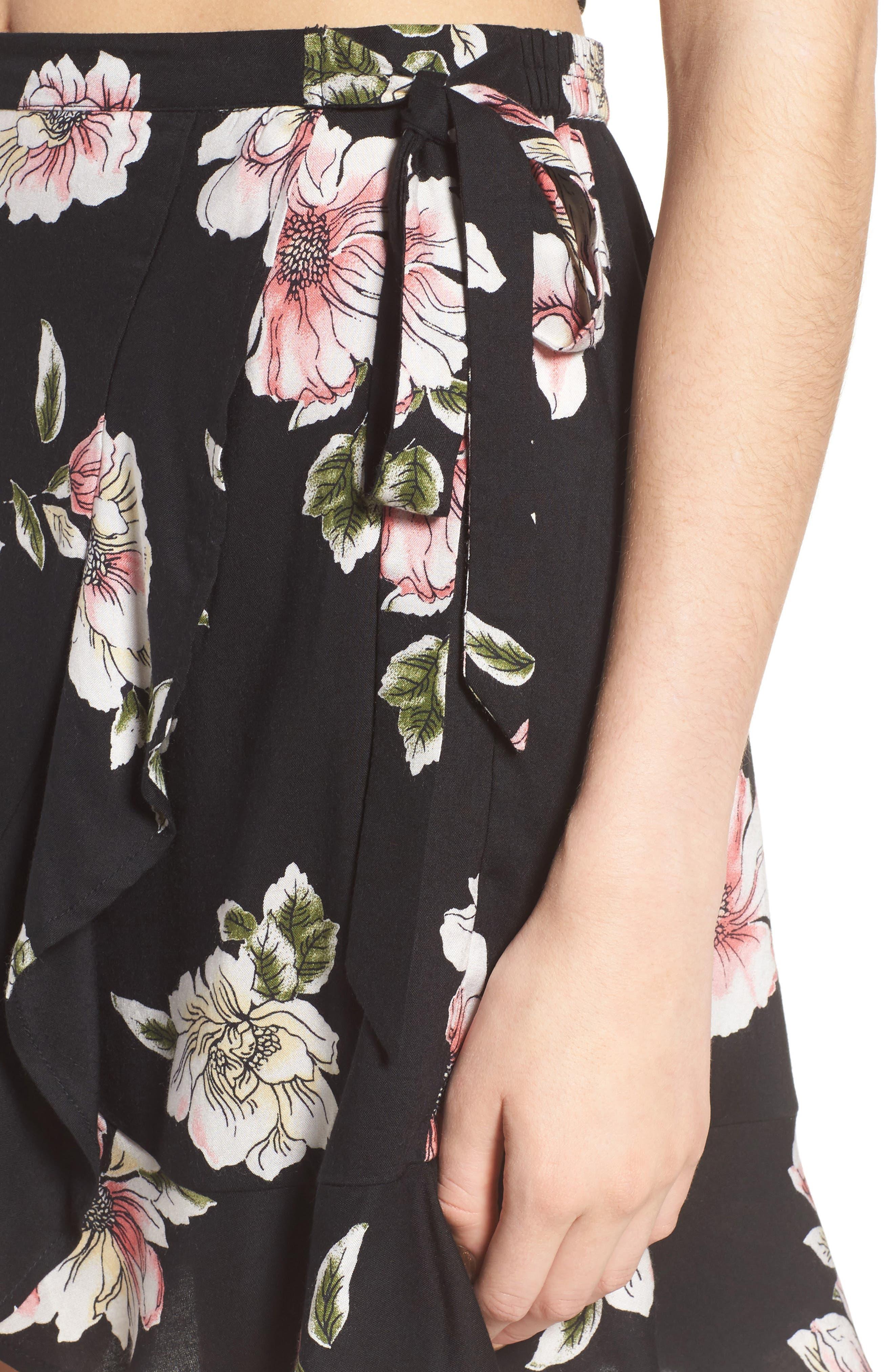 Hibiscus Faux Wrap Mini Skirt,                             Alternate thumbnail 6, color,                             Black/ Dusty Coral