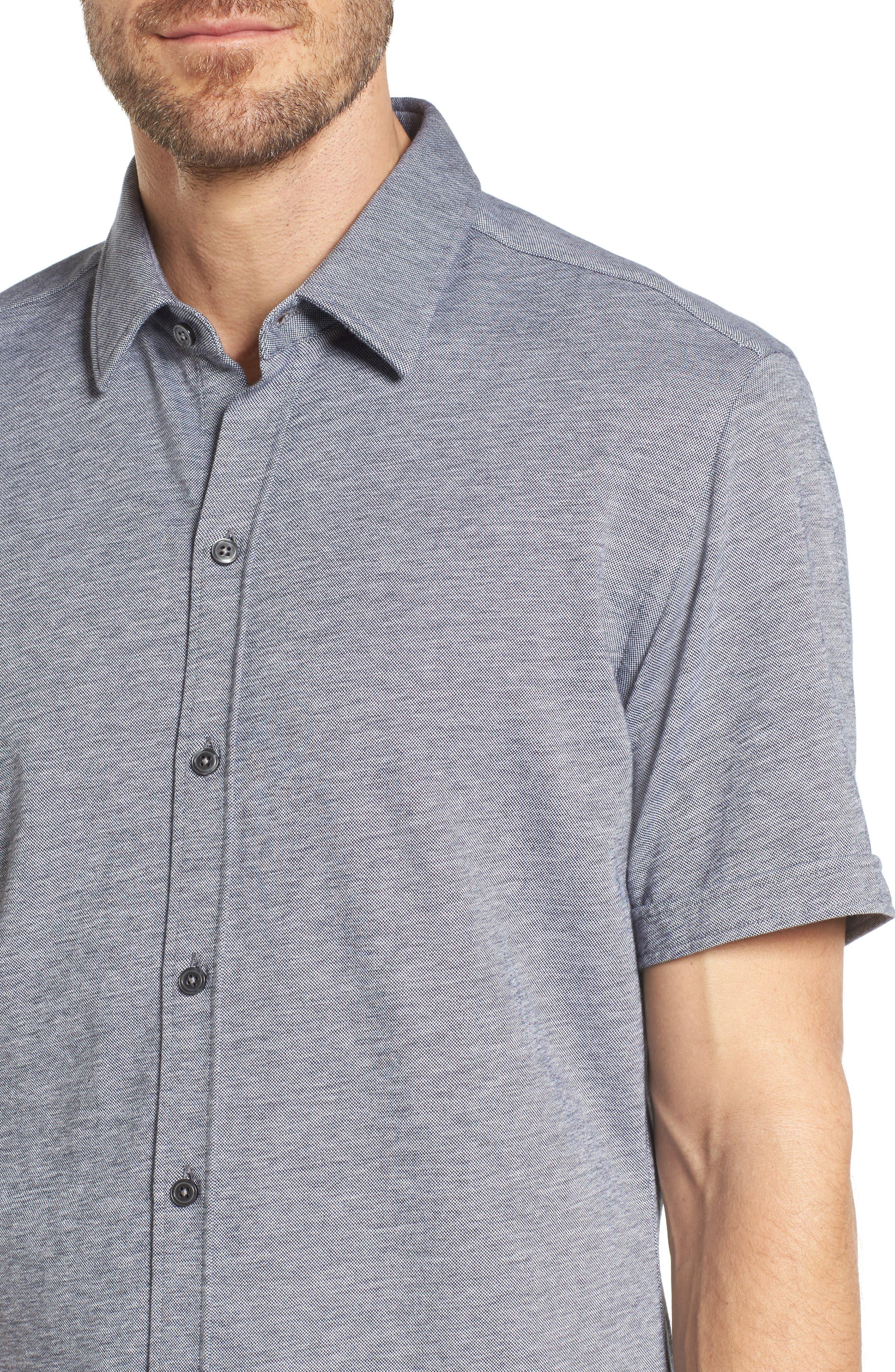 Robb Slim Fit Short Sleeve Sport Shirt,                             Alternate thumbnail 4, color,                             Light Blue
