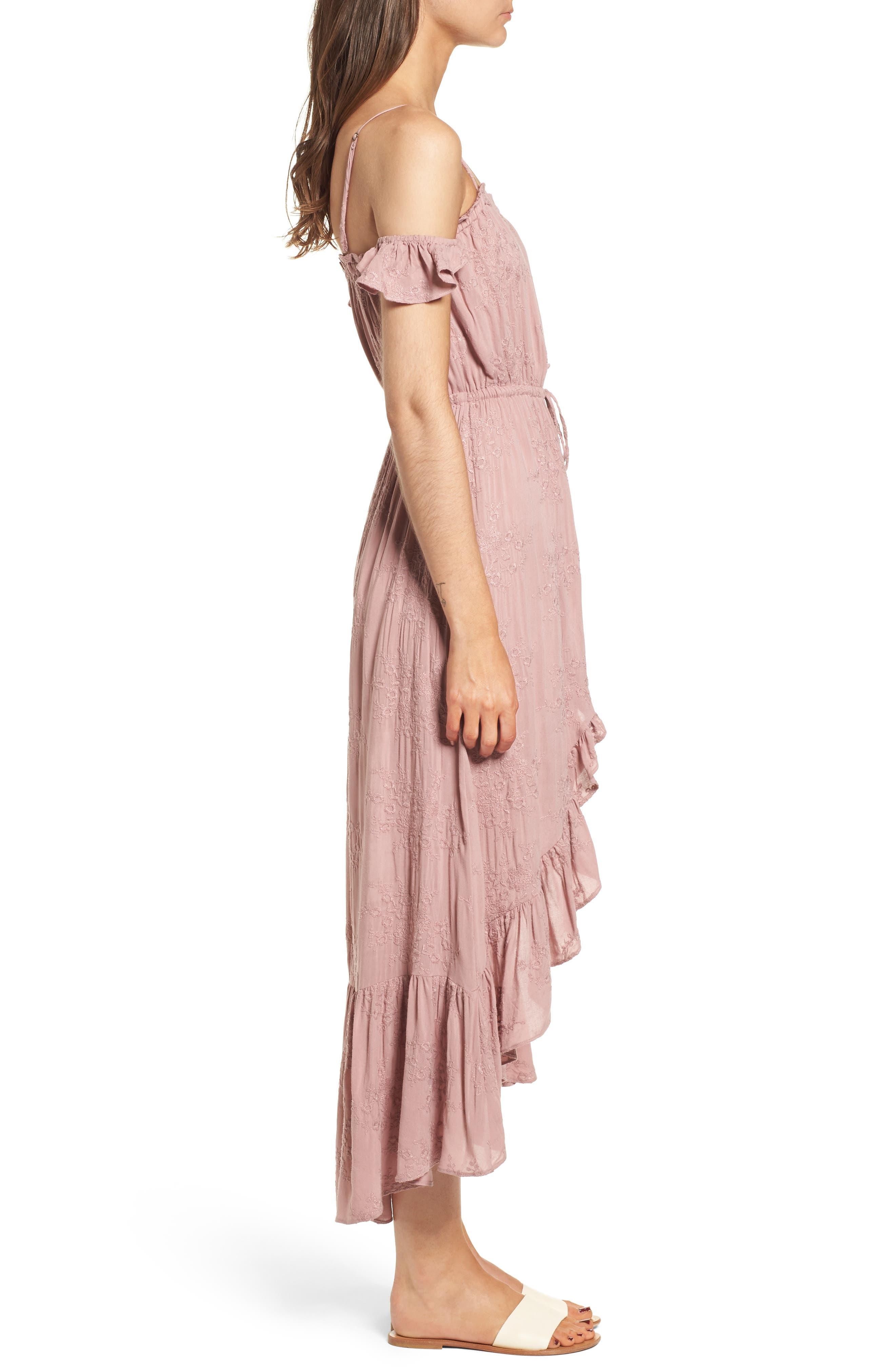 Rose Cold Shoulder High/Low Dress,                             Alternate thumbnail 4, color,                             Rosy Pink