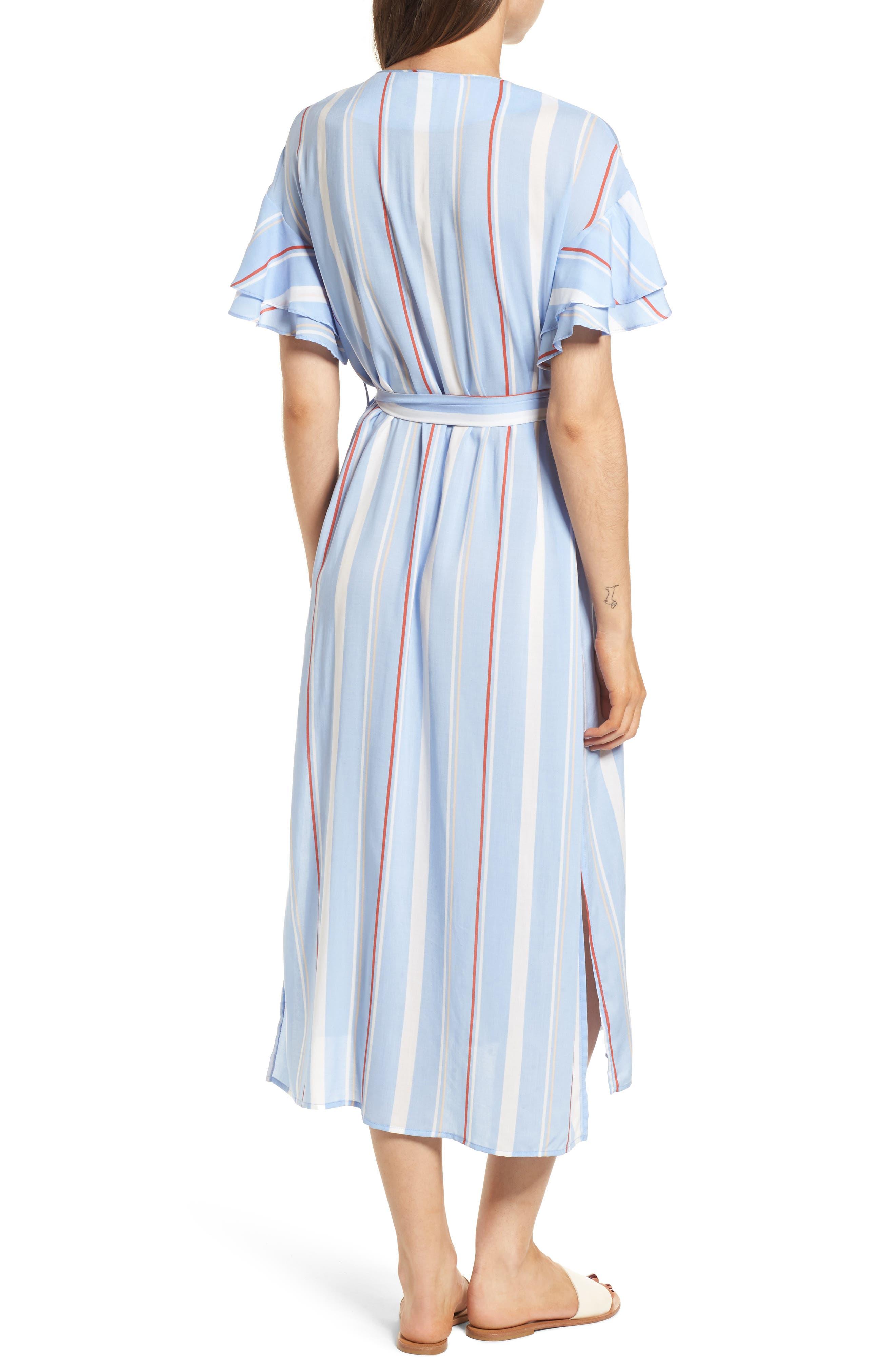 Button Down Midi Shirtdress,                             Alternate thumbnail 2, color,                             Light Blue-Rust