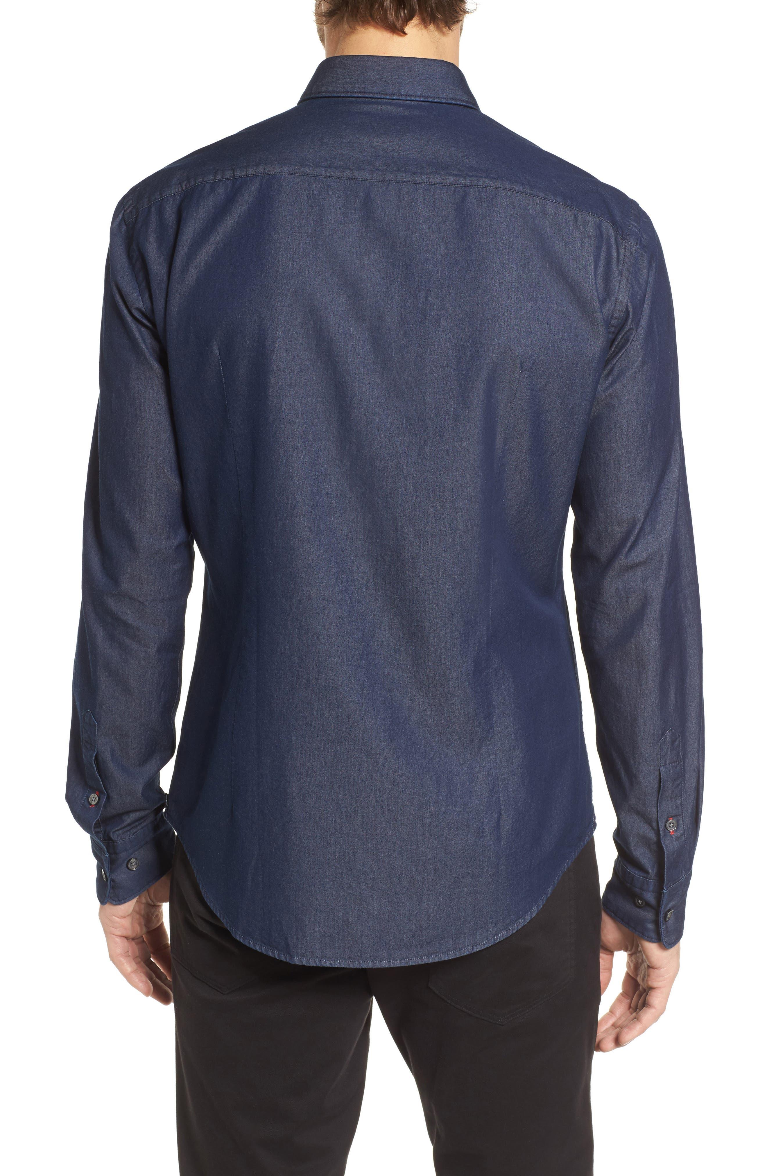 Robbie Regular Fit Denim Sport Shirt,                             Alternate thumbnail 2, color,                             Blue