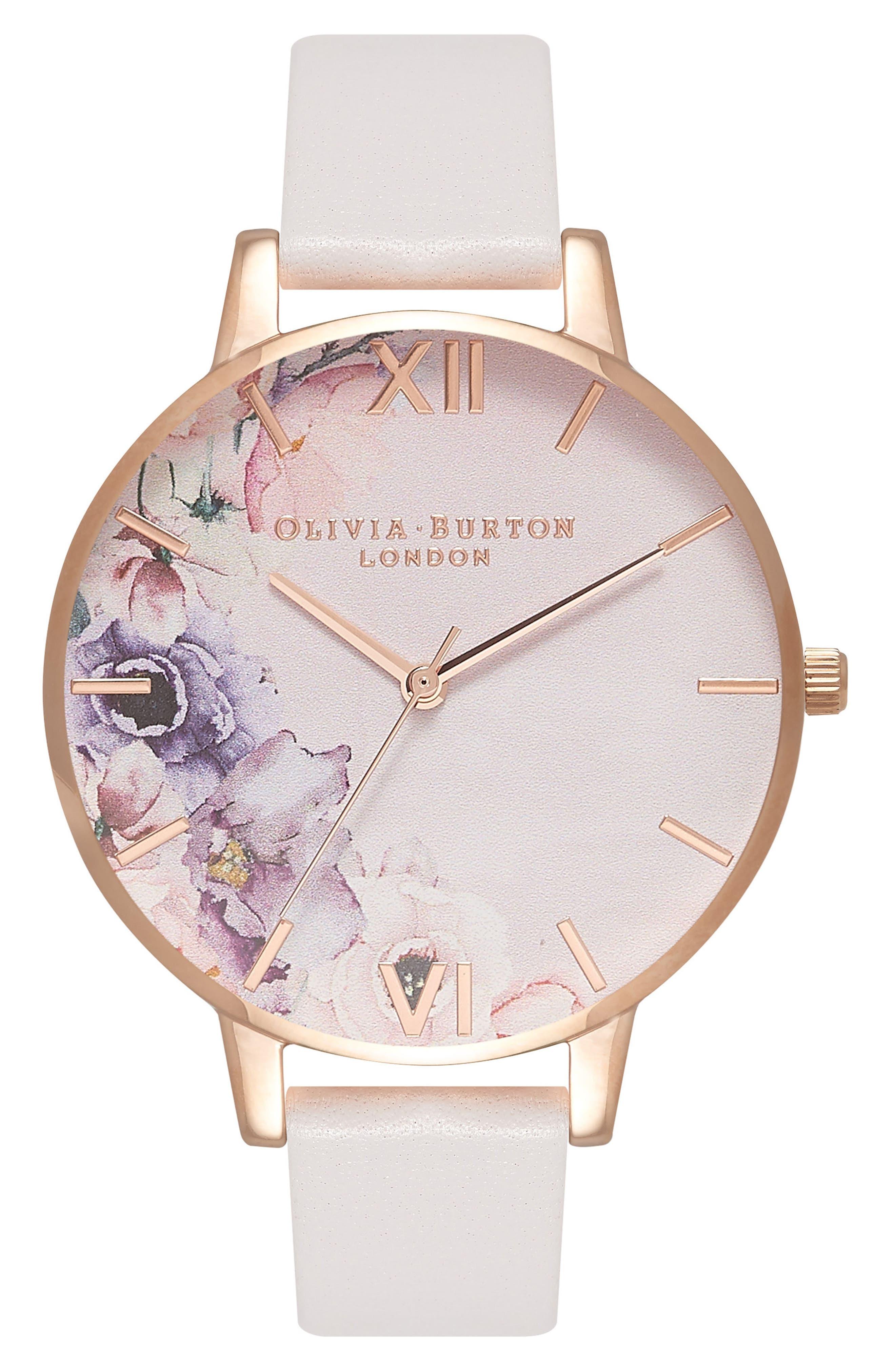 Watercolour Florals Leather Strap Watch, 38mm,                             Main thumbnail 1, color,                             Blush/ Floral/ Rose Gold