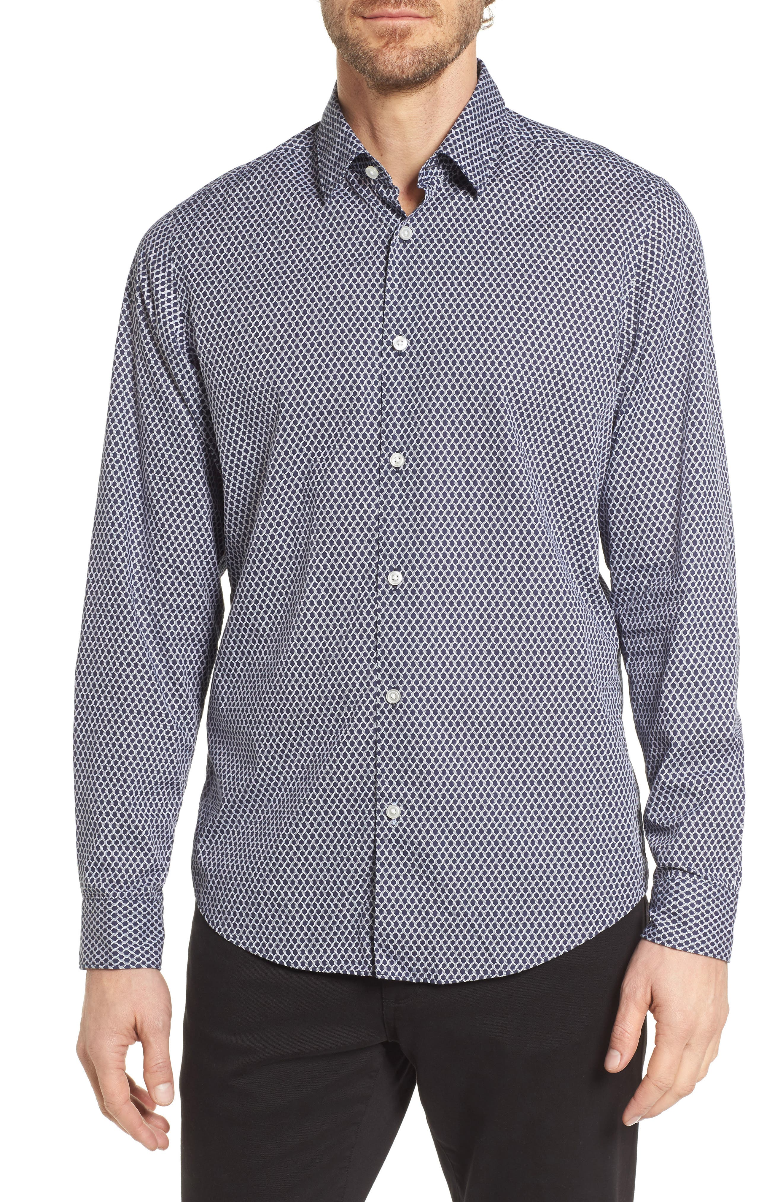 Lukas Regular Fit Print Sport Shirt,                             Main thumbnail 1, color,                             Blue