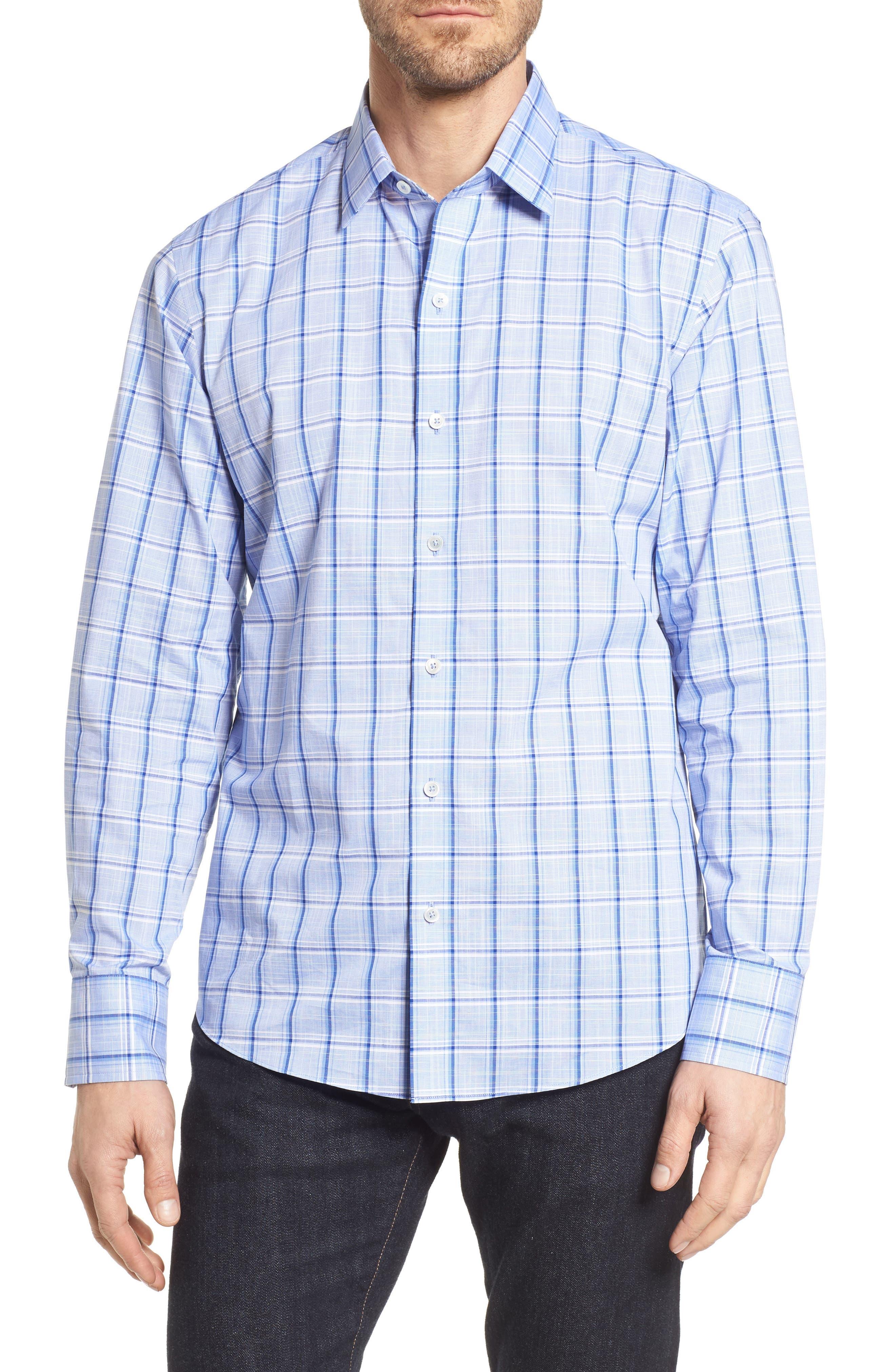Washington Plaid Sport Shirt,                         Main,                         color, Blue