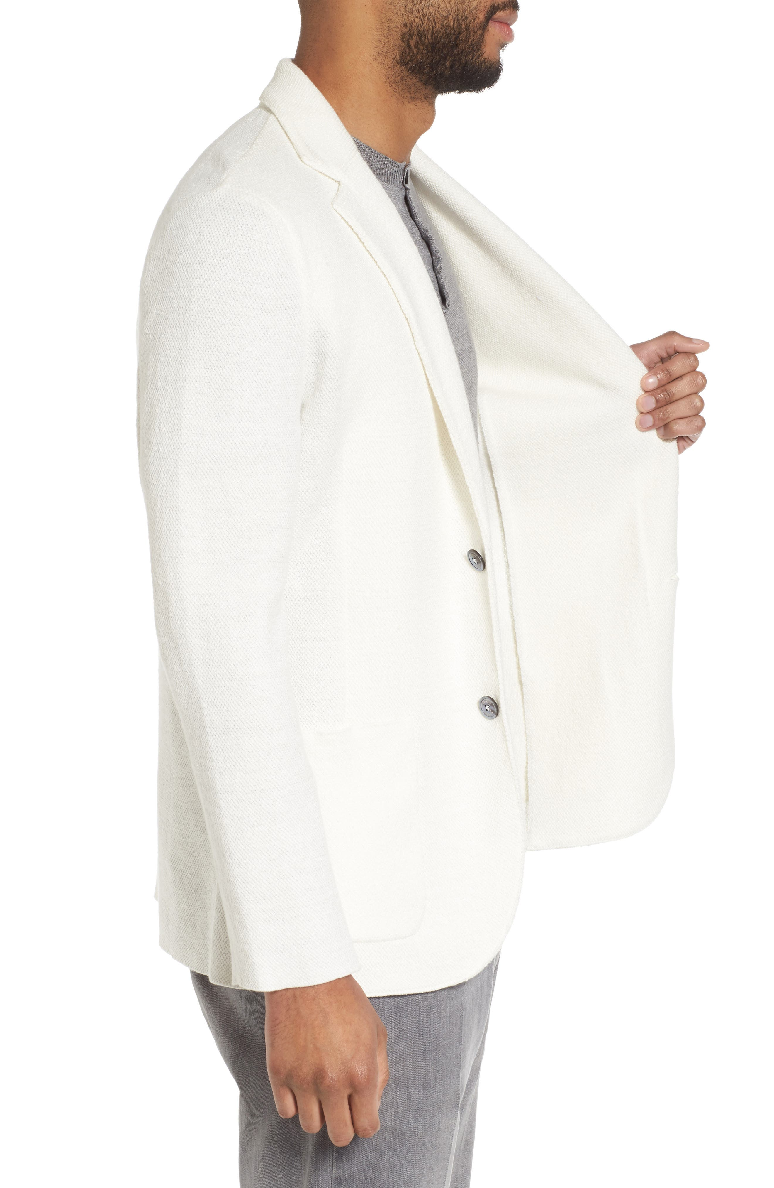 Slim Fit Linen Blend Sweater Jacket,                             Alternate thumbnail 3, color,                             Ivory