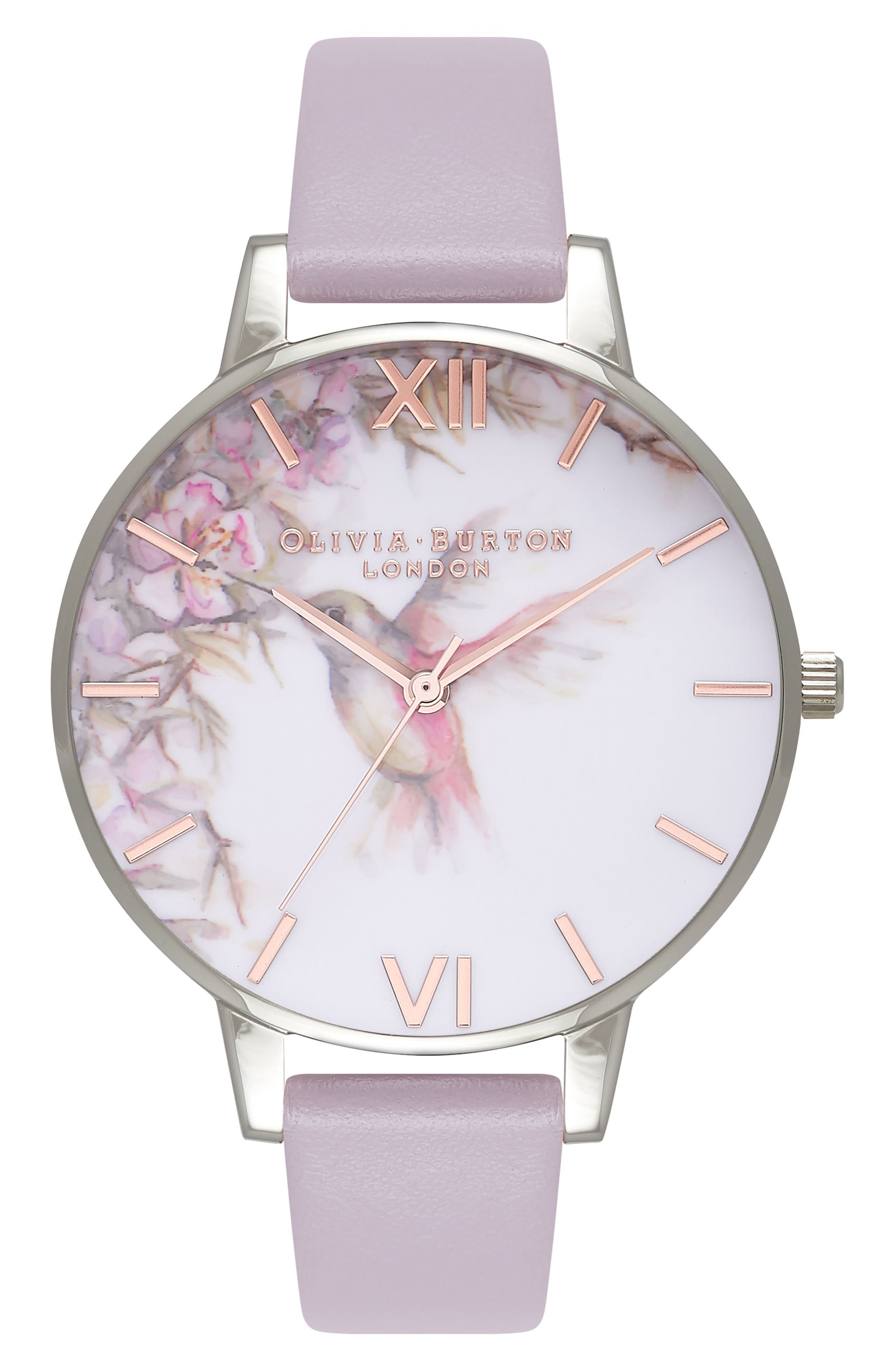 Painterly Prints Leather Strap Watch, 38mm,                             Main thumbnail 1, color,                             Grey Lilac/ White/ Silver