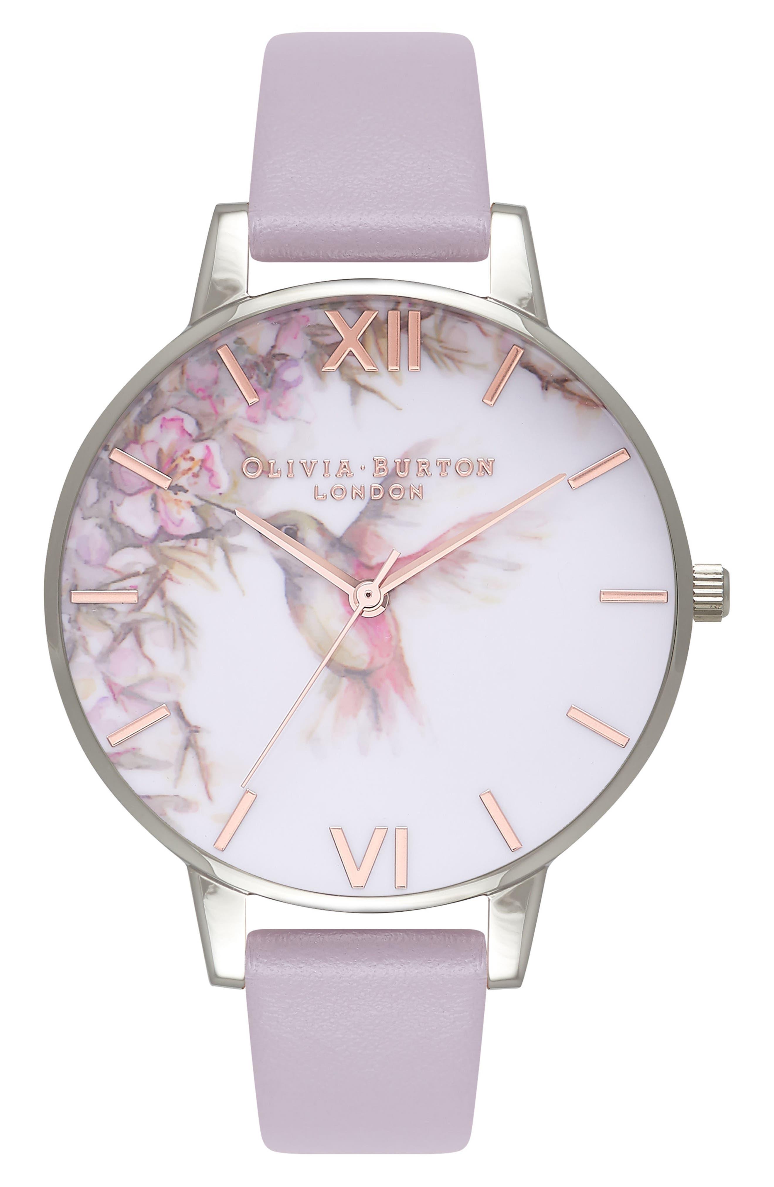 Olivia Burton Painterly Prints Leather Strap Watch, 38mm