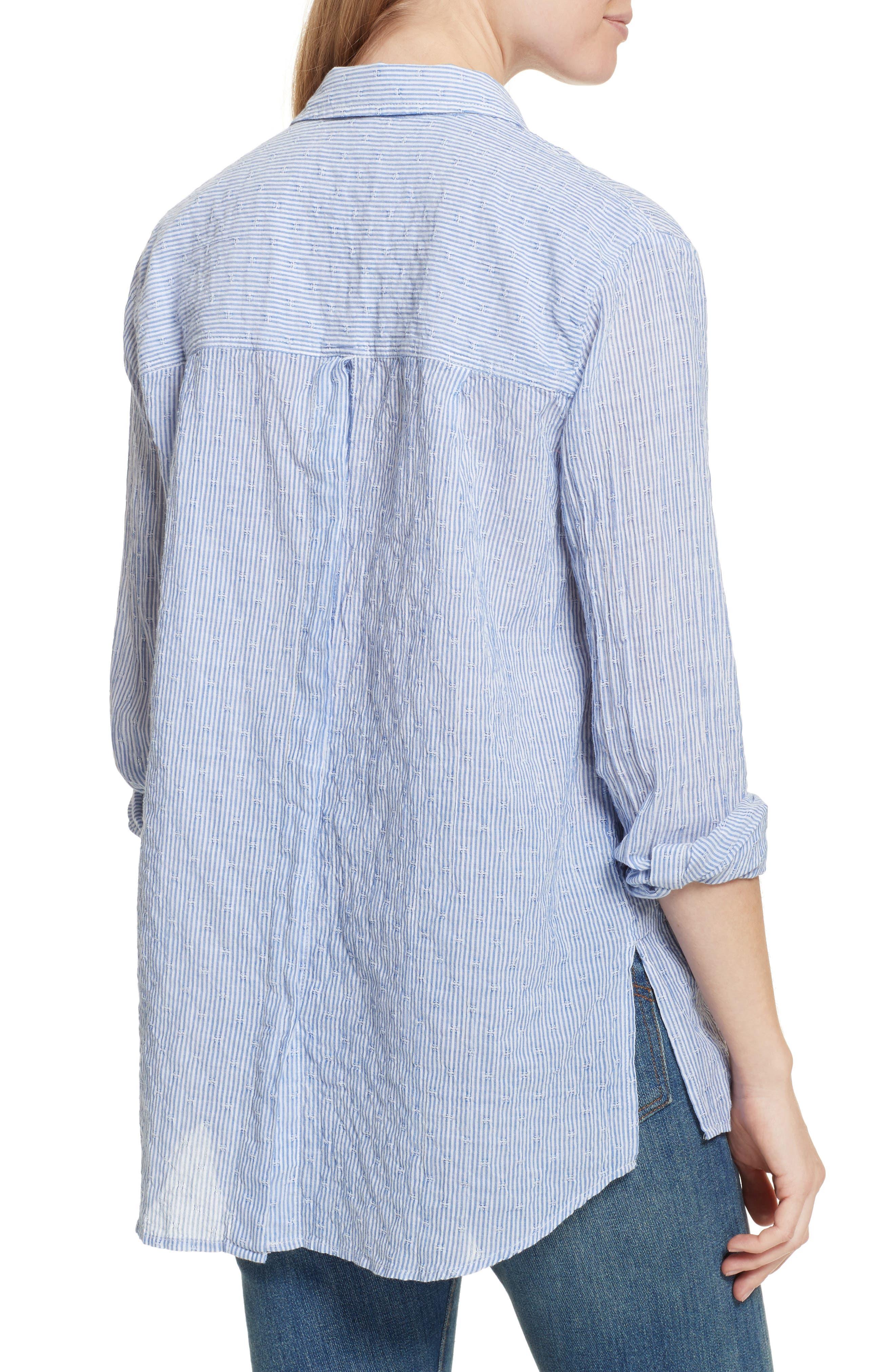 No Limits Stripe Stretch Cotton Shirt,                             Alternate thumbnail 2, color,                             Blue