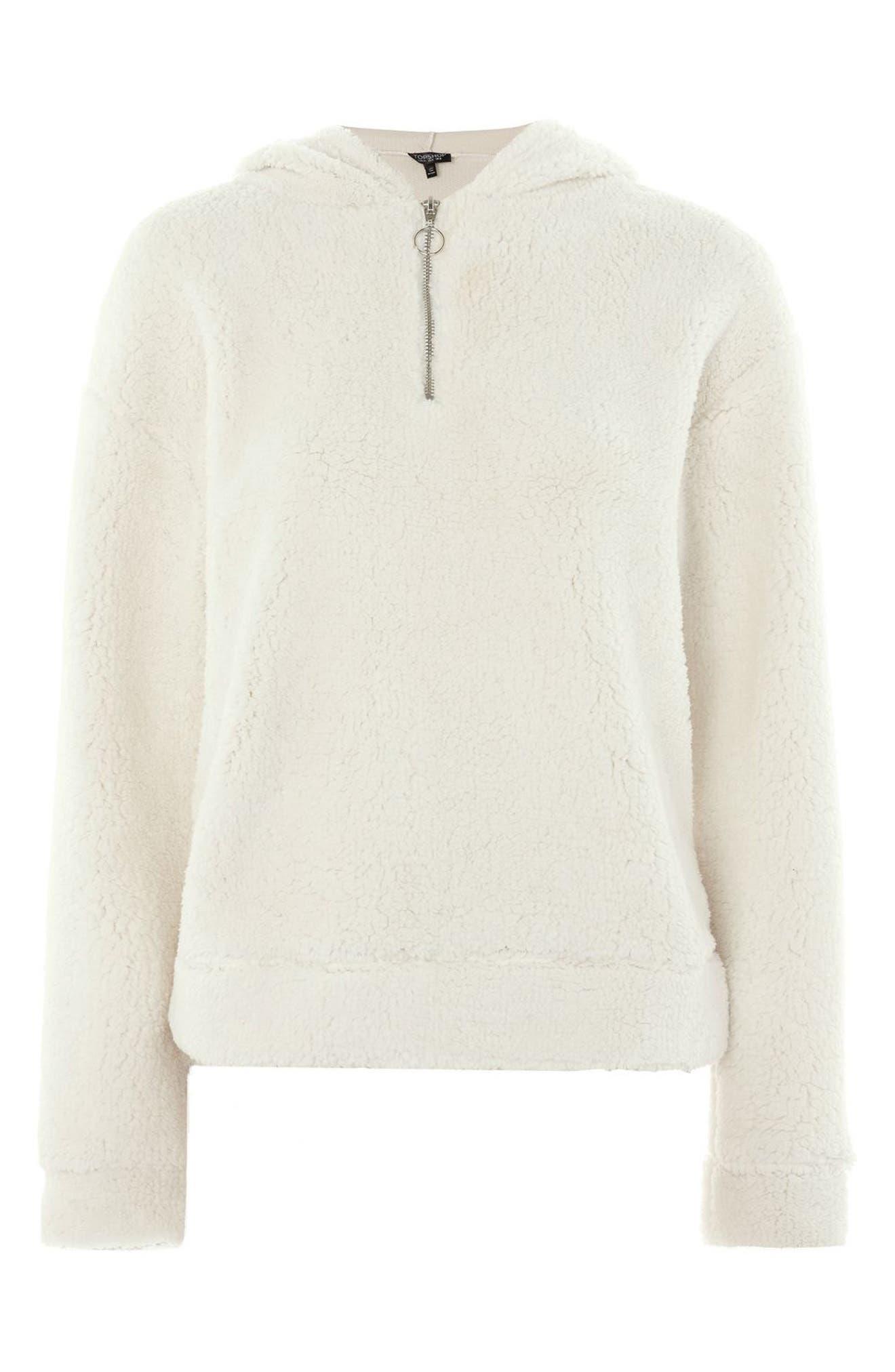 Alternate Image 4  - Topshop Fleece Quarter-Zip Hoodie