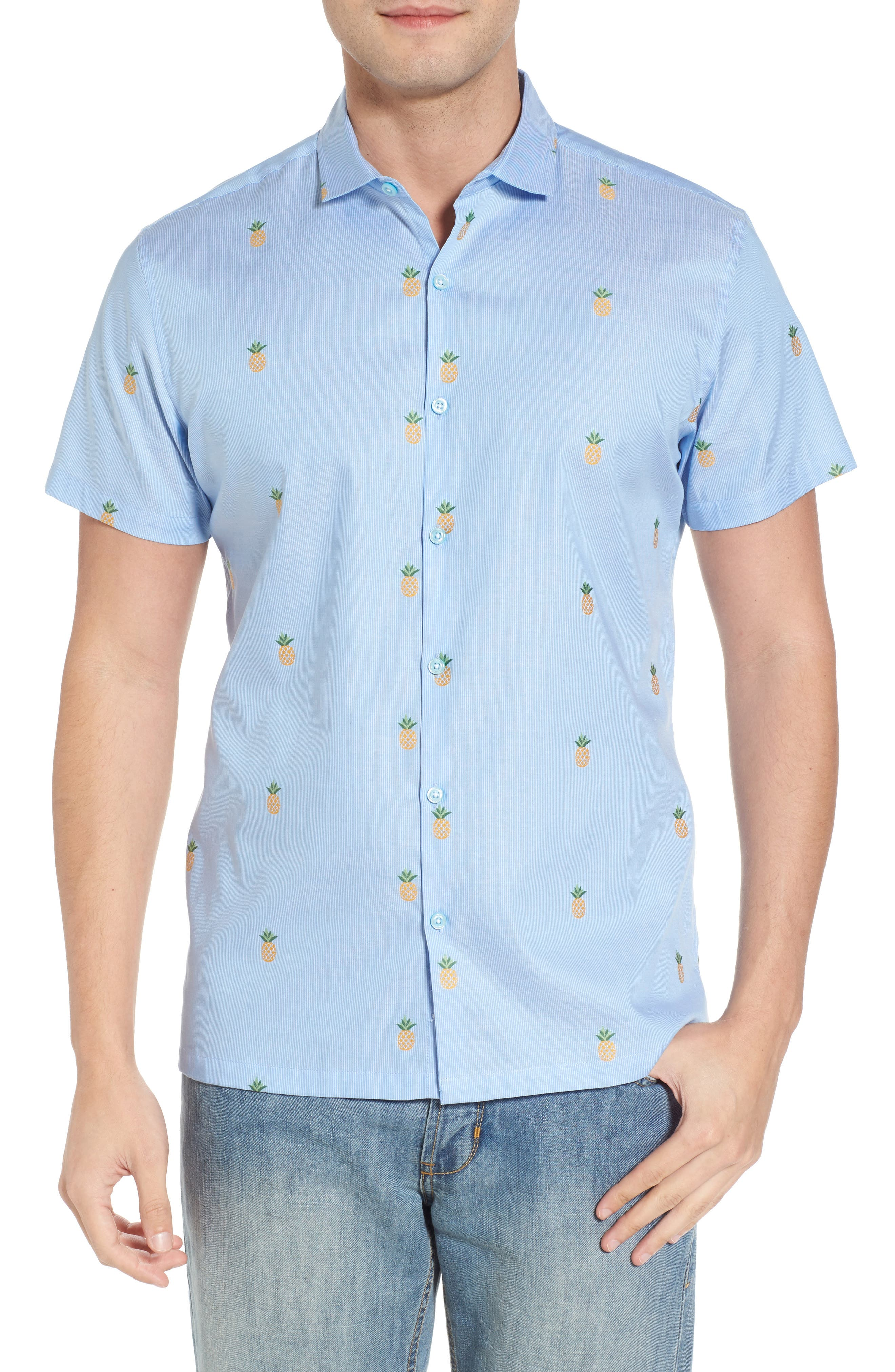 Dole 'N' Row Trim Fit Embroidered Sport Shirt,                             Main thumbnail 1, color,                             Blue