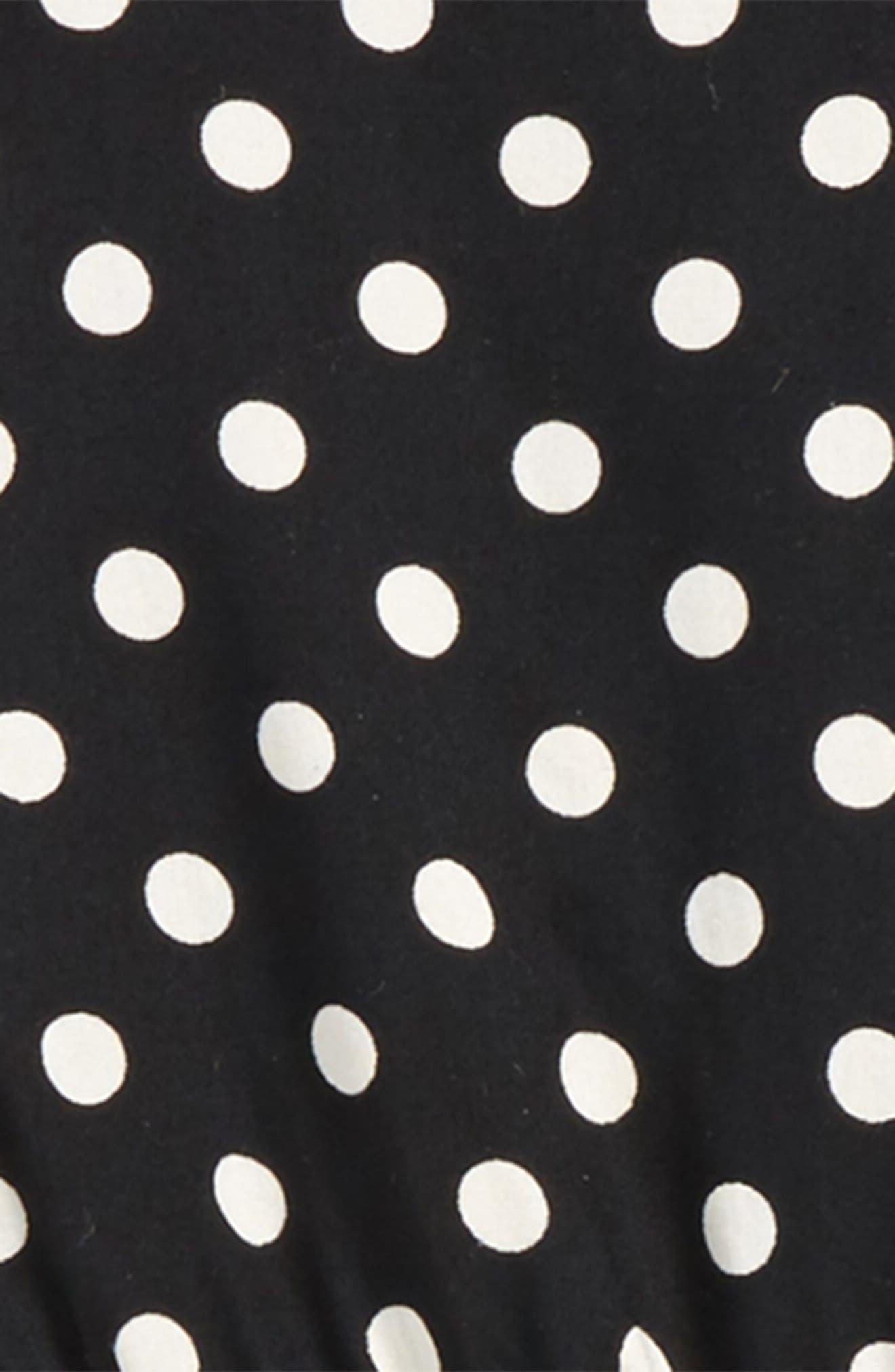 Polka Dot Romper,                             Alternate thumbnail 2, color,                             Black/ Ivory